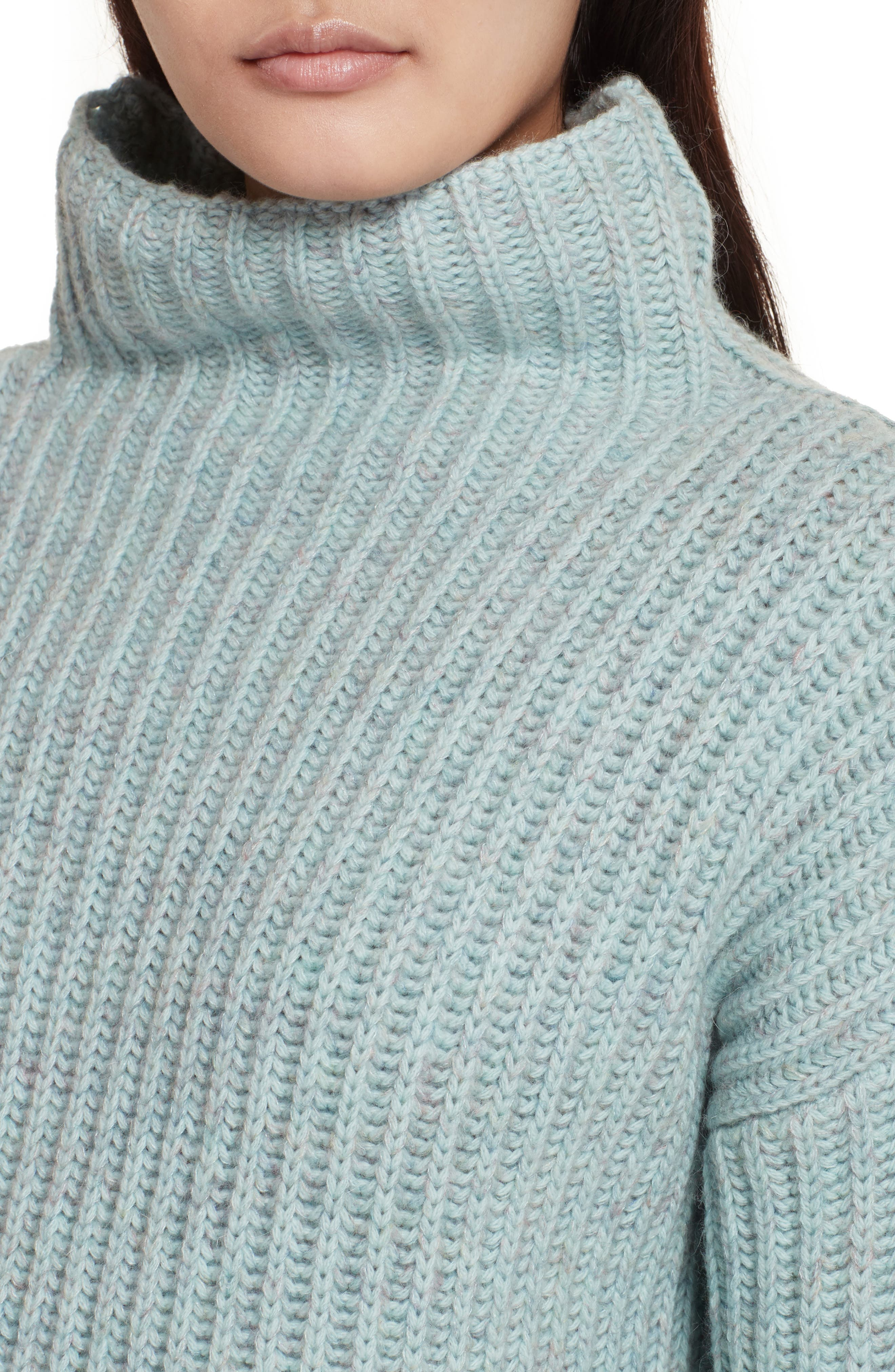 Ribbed Turtleneck Sweater,                             Alternate thumbnail 4, color,                             Tourmaline Heather