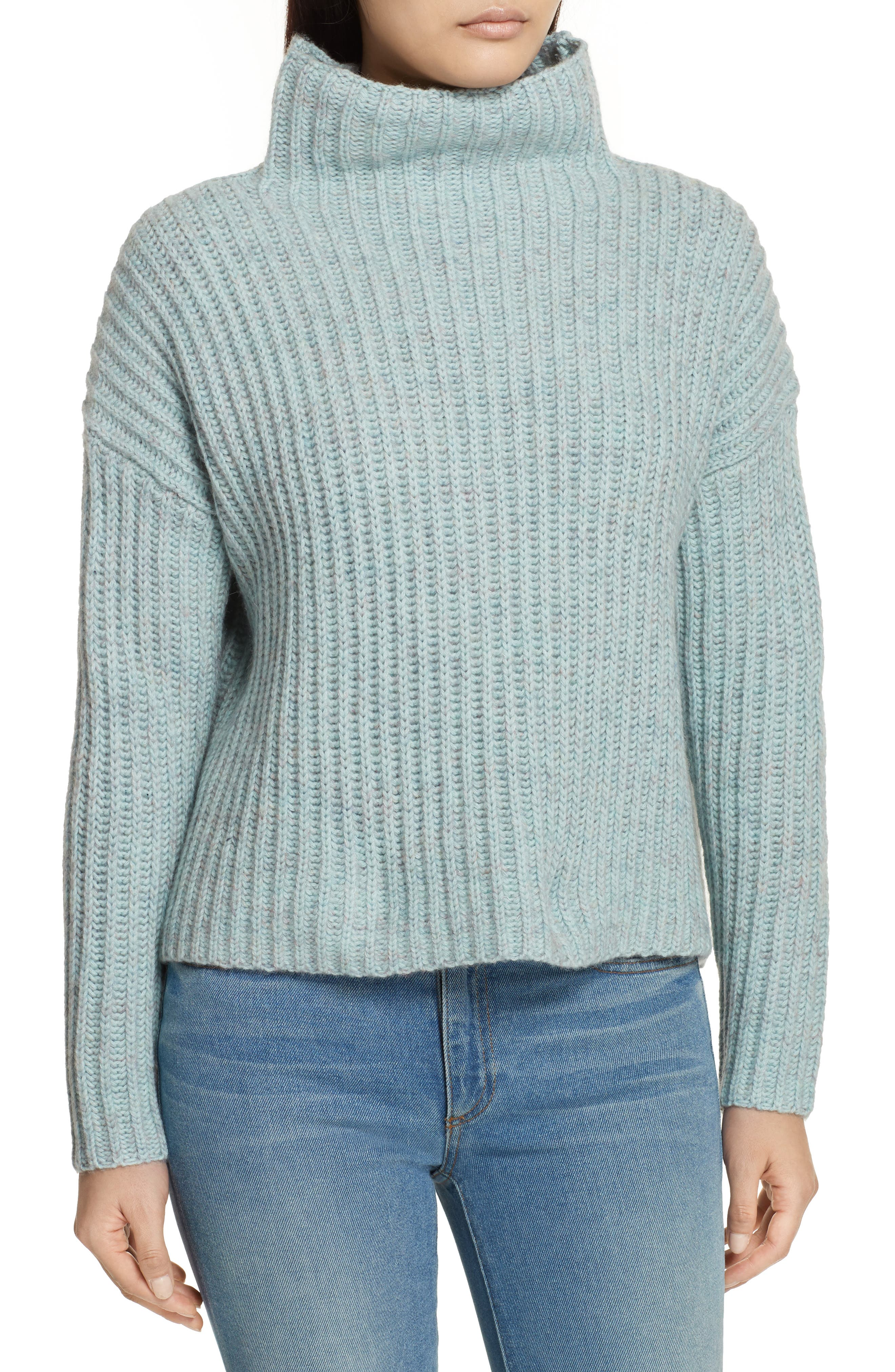 Ribbed Turtleneck Sweater,                             Main thumbnail 1, color,                             Tourmaline Heather
