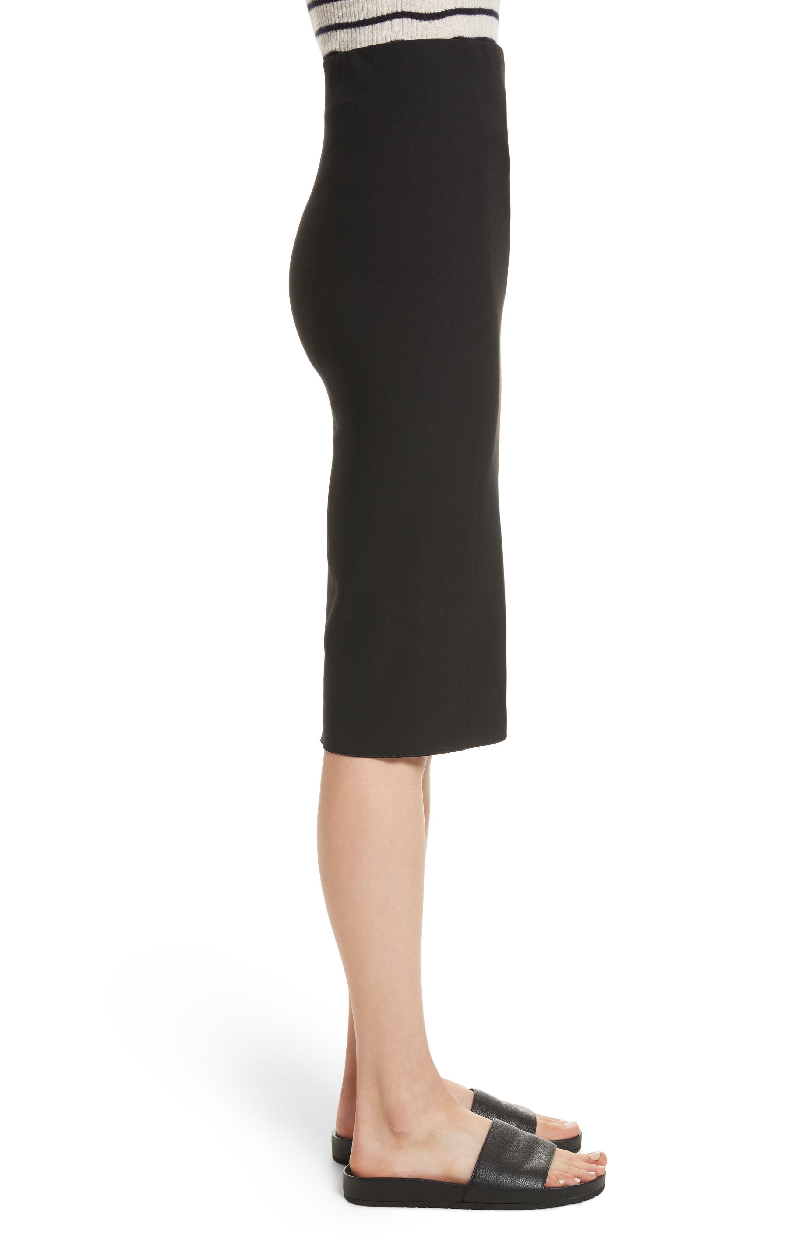 Stretch Ponte Pencil Skirt,                             Alternate thumbnail 3, color,                             Black