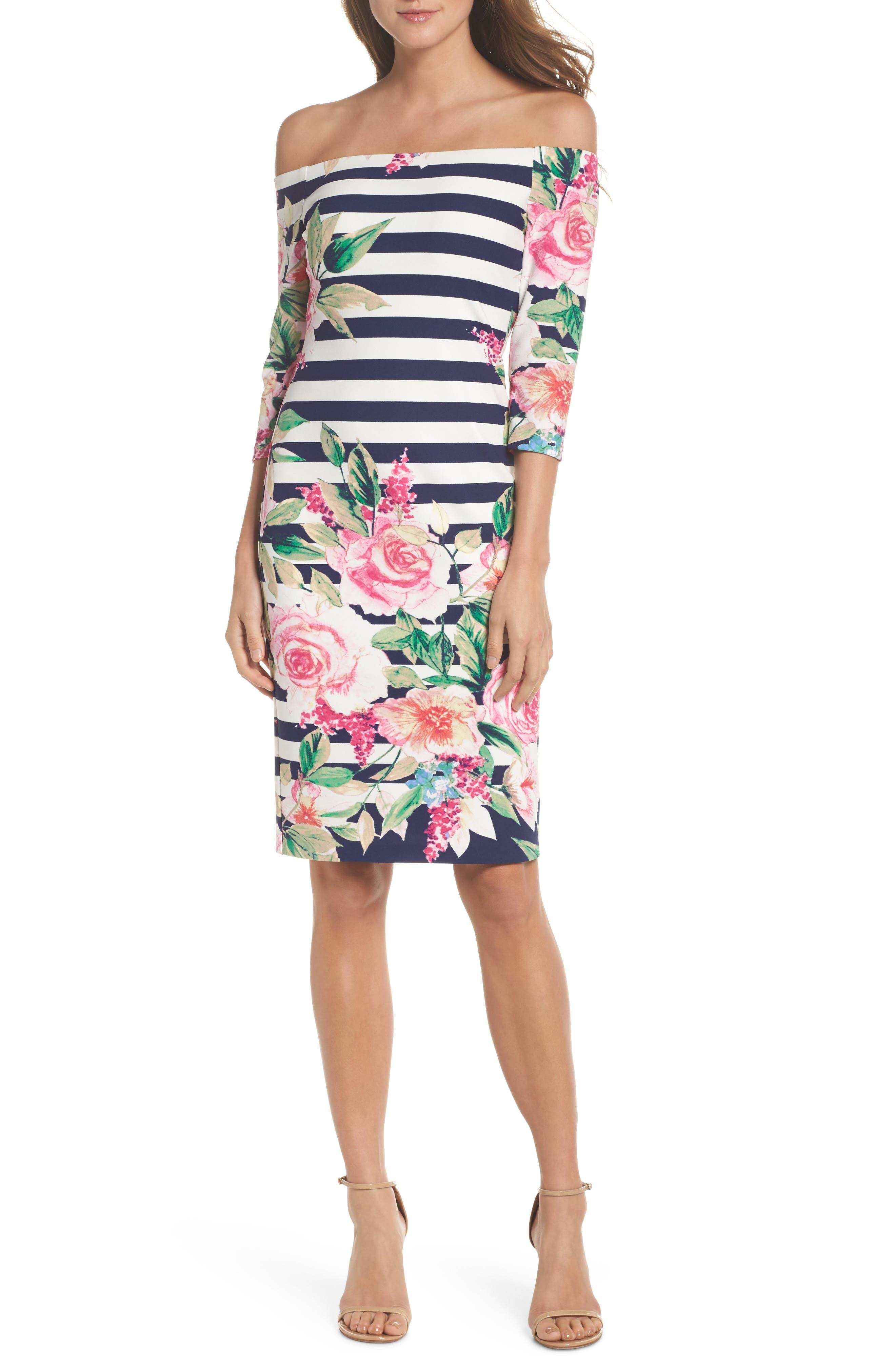 Stripe Off the Shoulder Dress,                         Main,                         color, Navy