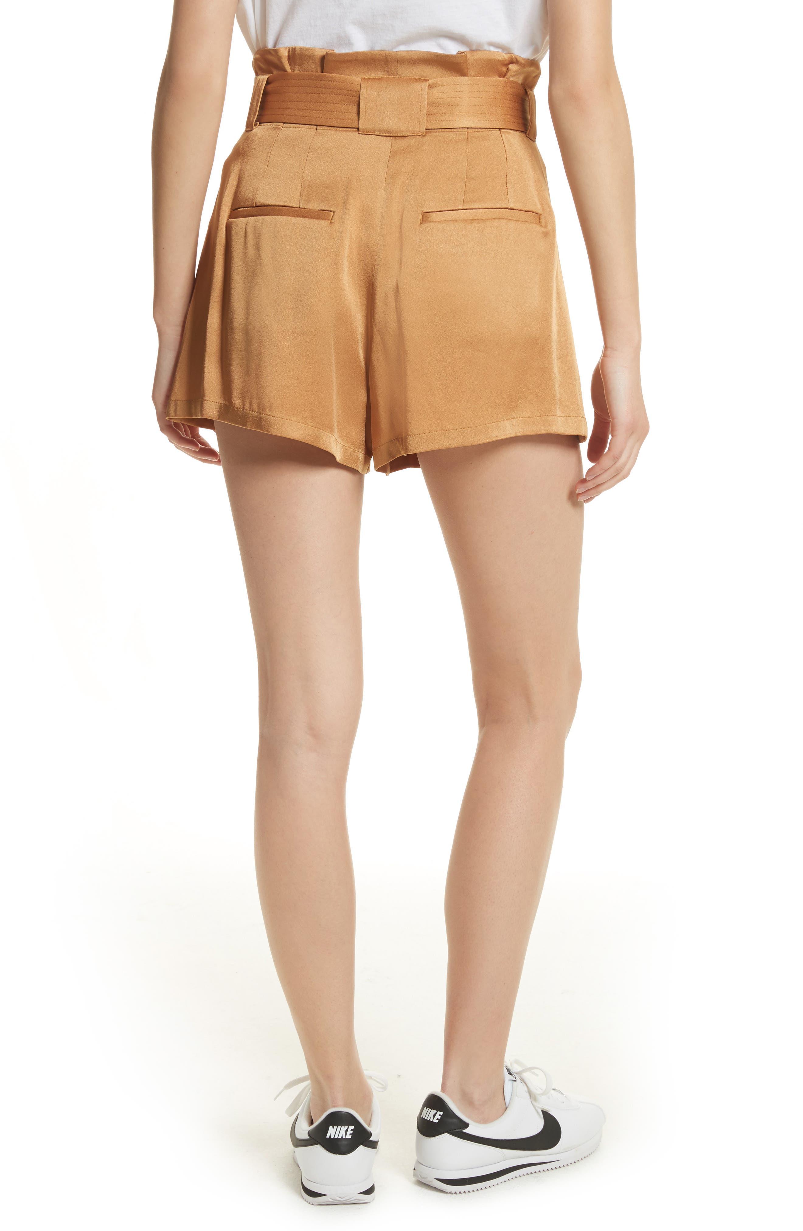 Deliah Paperbag Waist Shorts,                             Alternate thumbnail 2, color,                             Caramel