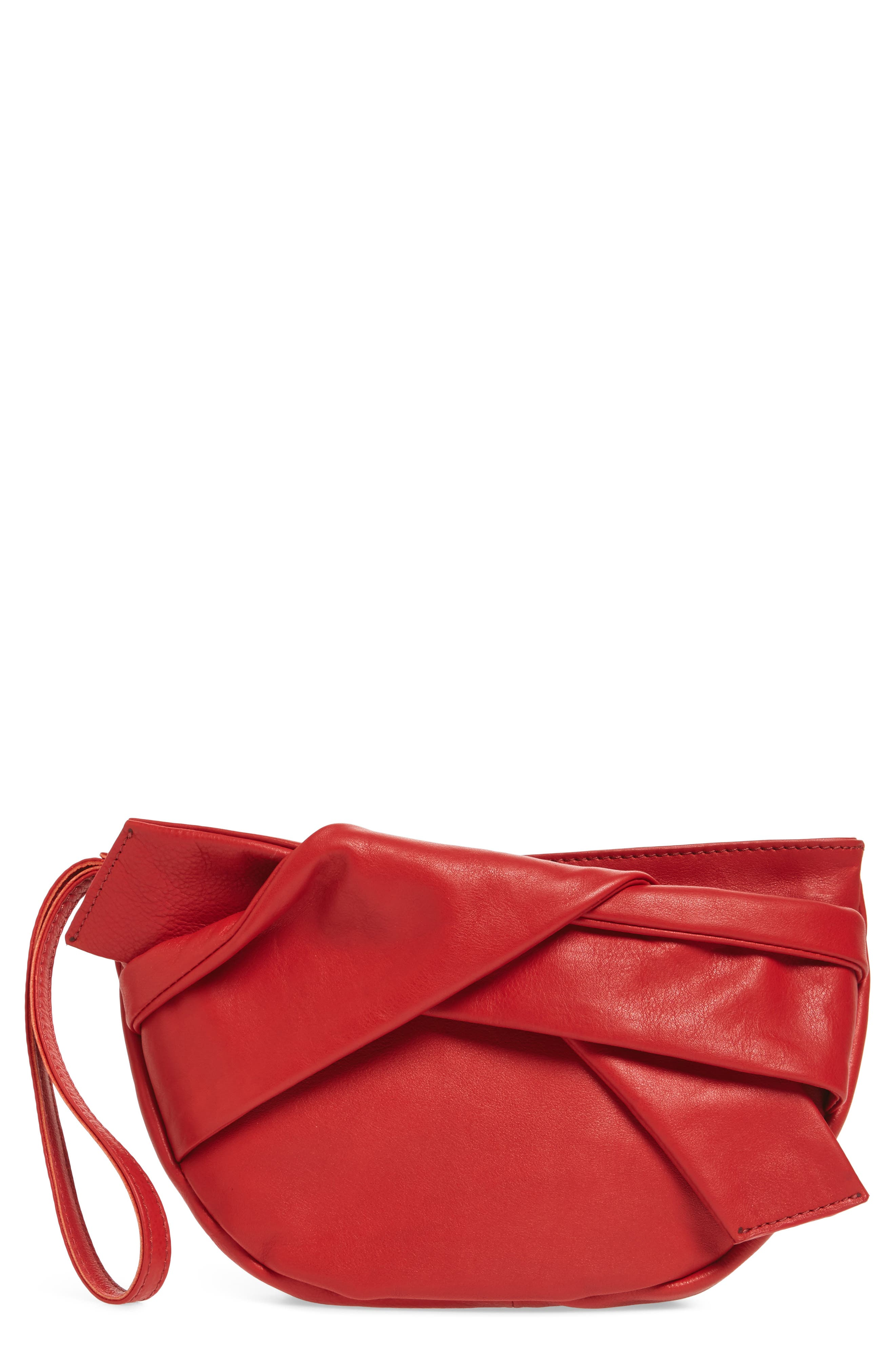 Jasmine Leather Clutch,                             Main thumbnail 1, color,                             Red