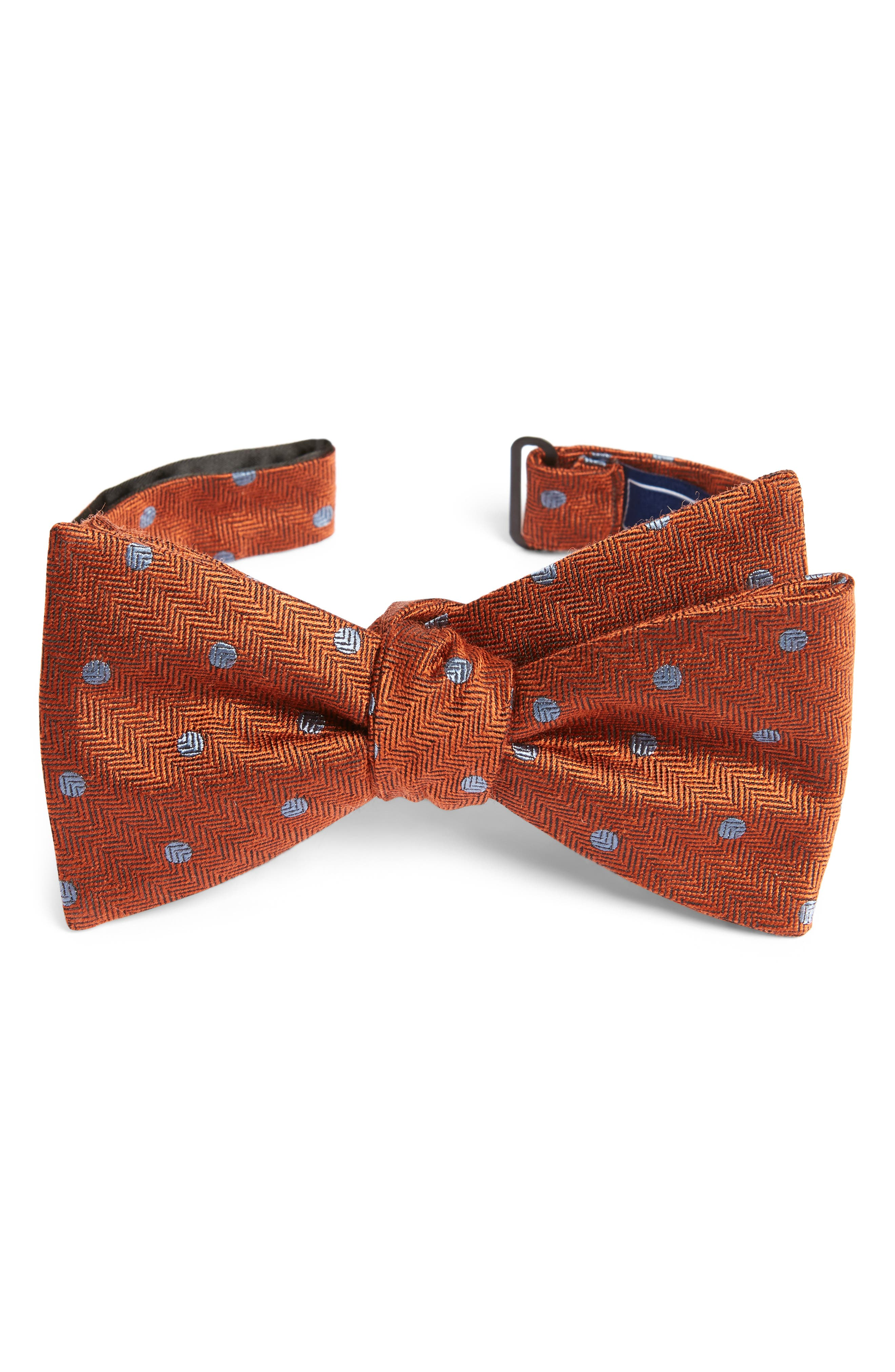 Dotted Hitch Wool & Silk Bow Tie,                         Main,                         color, Orange