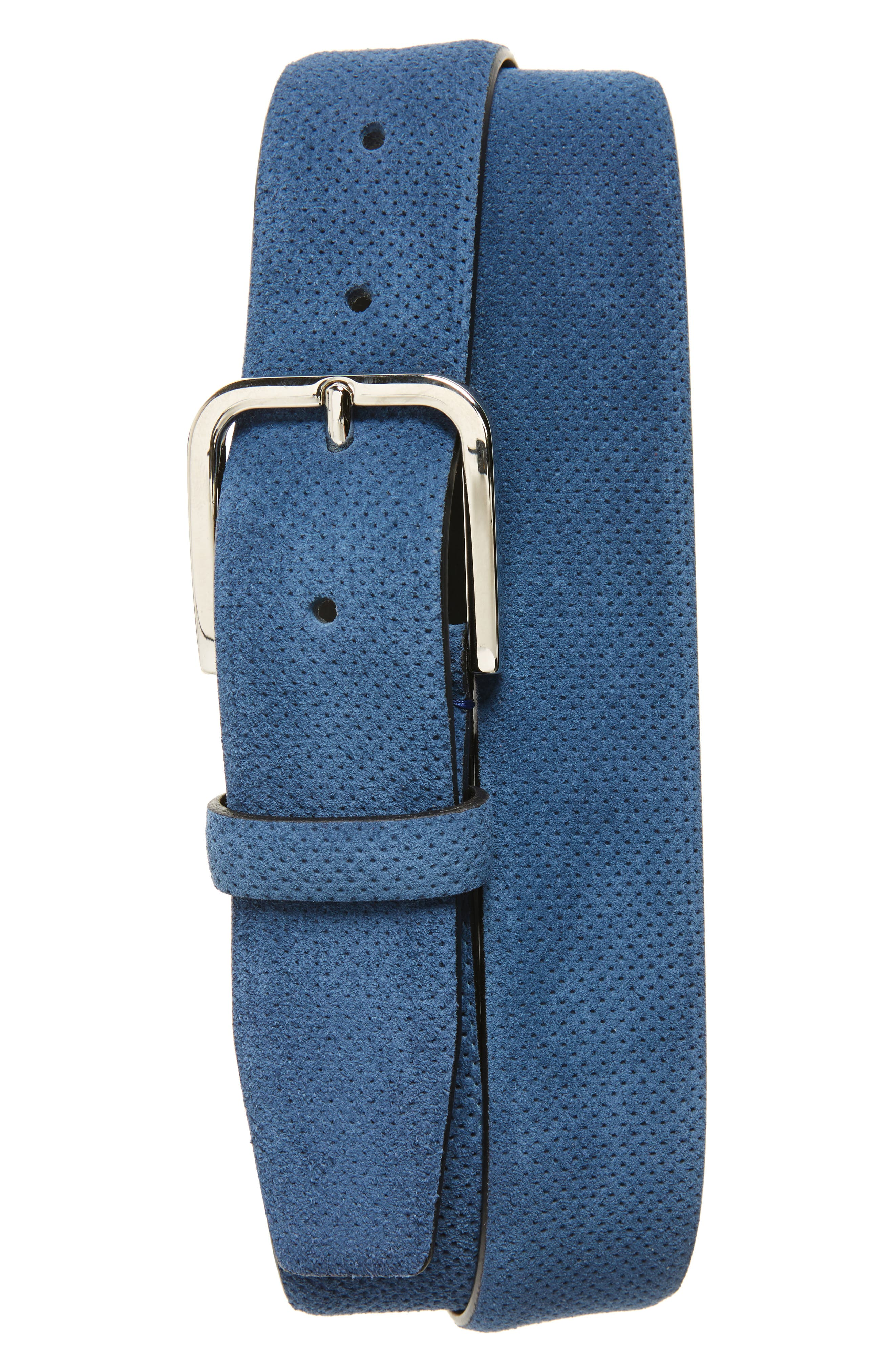 Perforated Suede Belt,                             Main thumbnail 1, color,                             Bright Blue