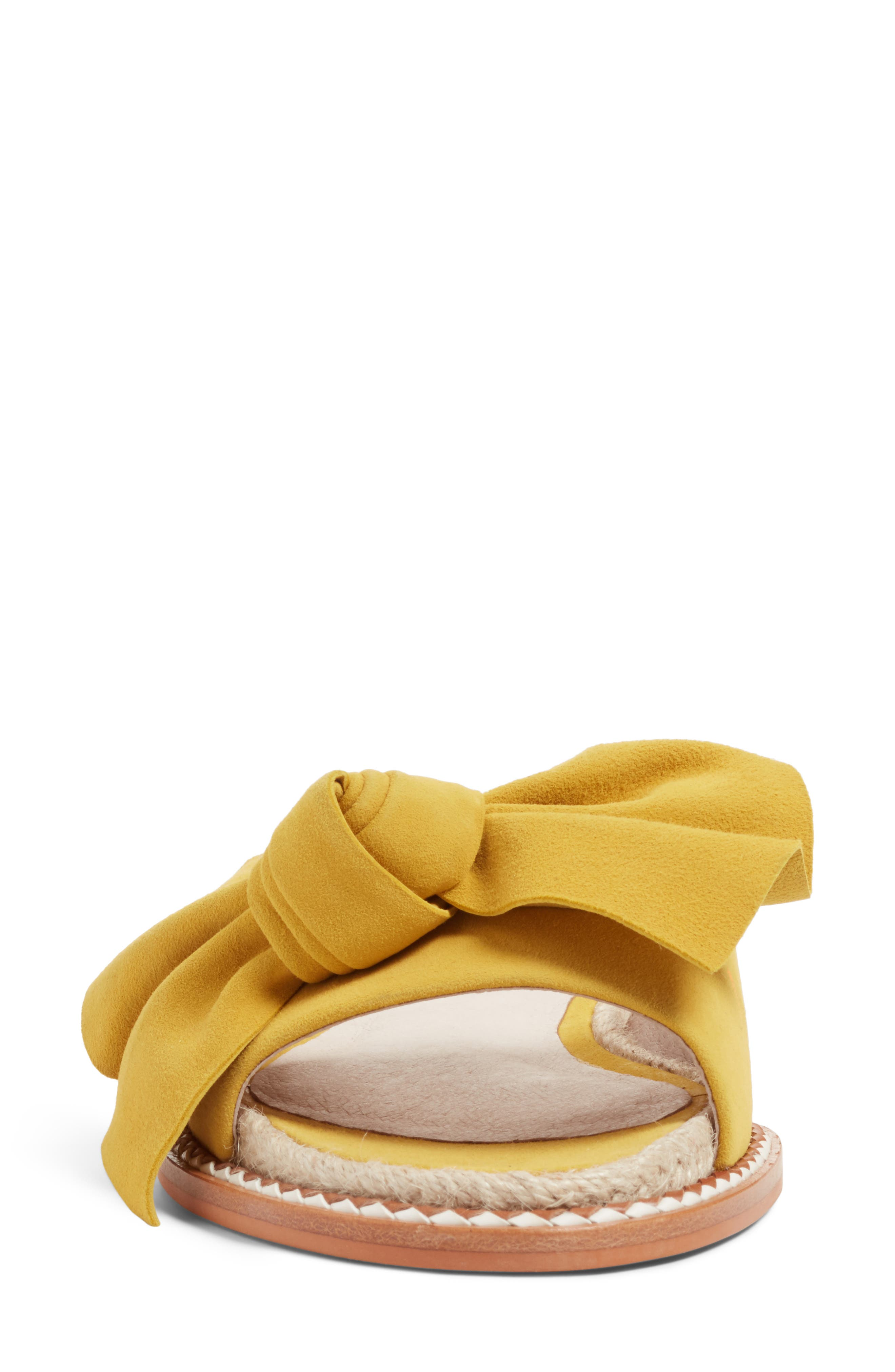 Darcie Slide Sandal,                             Alternate thumbnail 4, color,                             Mustard Suede
