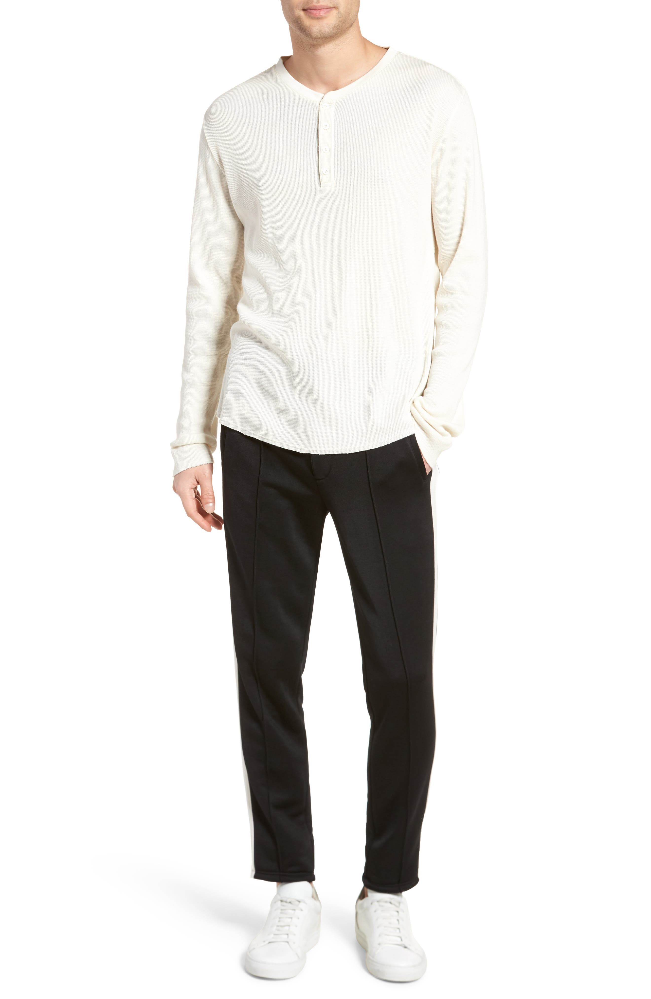Thermal Knit Long Sleeve Henley T-Shirt,                             Alternate thumbnail 7, color,                             Off White