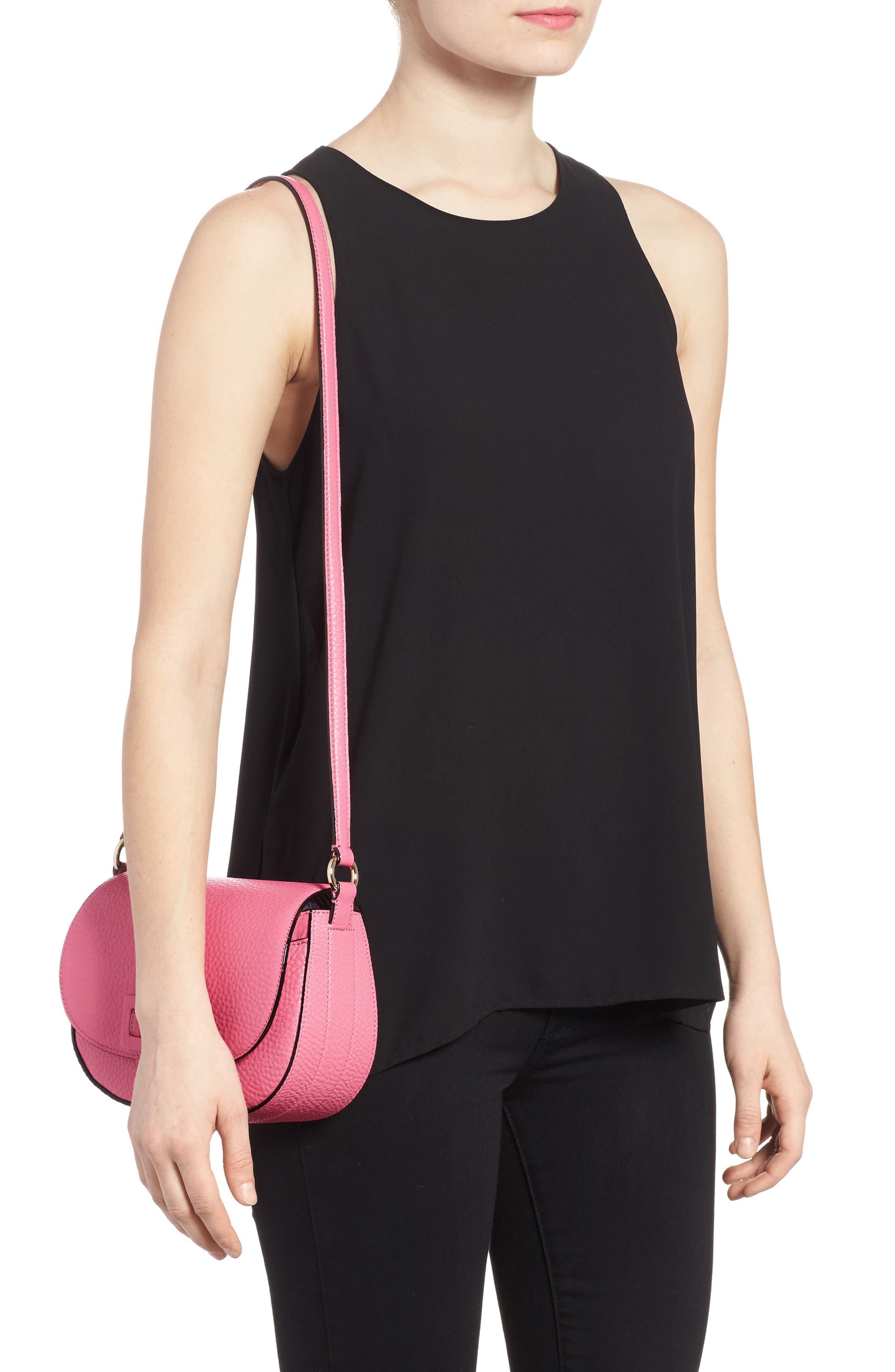carlyle street - kallie leather saddle bag,                             Alternate thumbnail 2, color,                             Pink Sunset