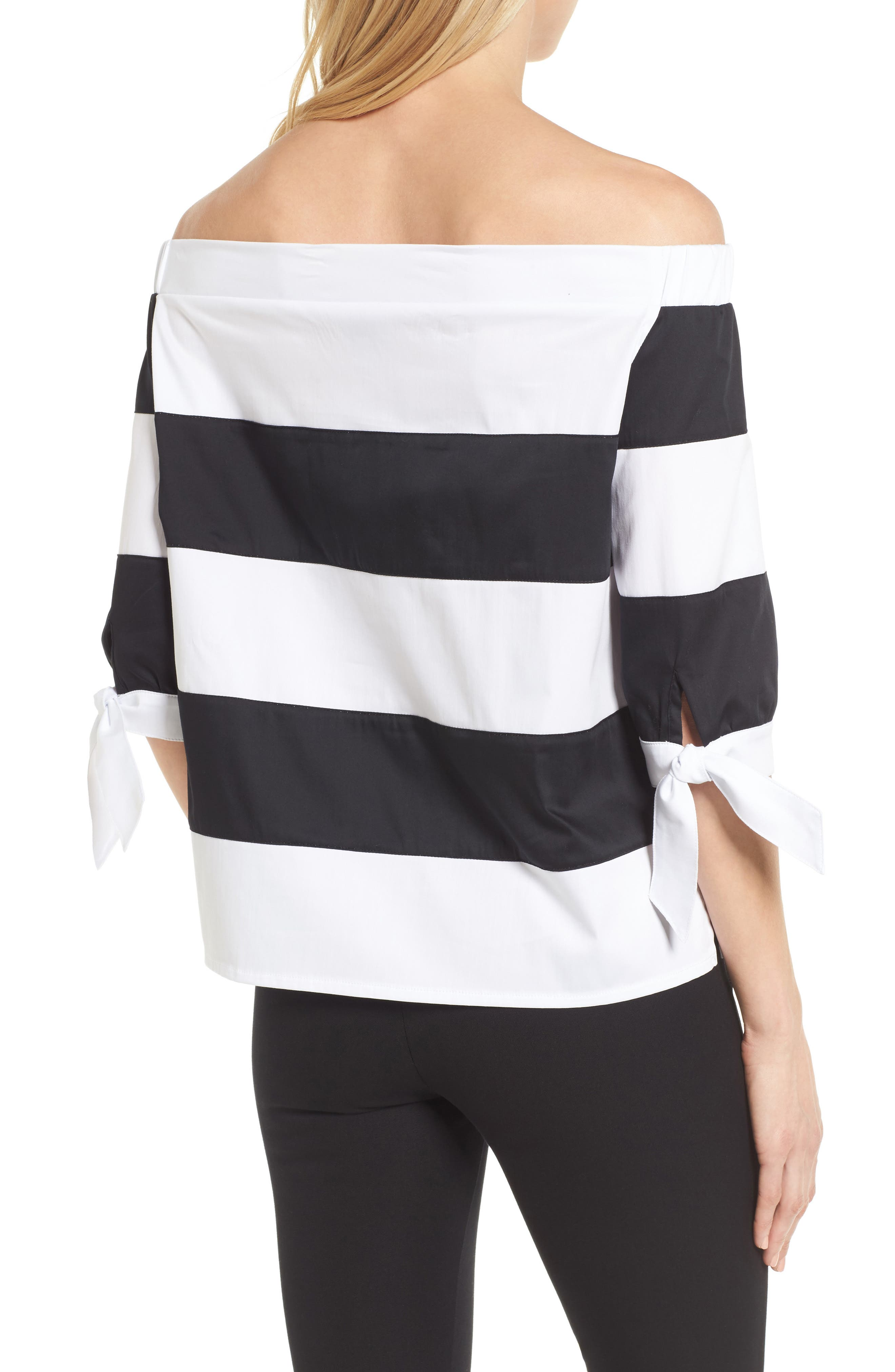 Off the Shoulder Stripe Top,                             Alternate thumbnail 2, color,                             White/ Black