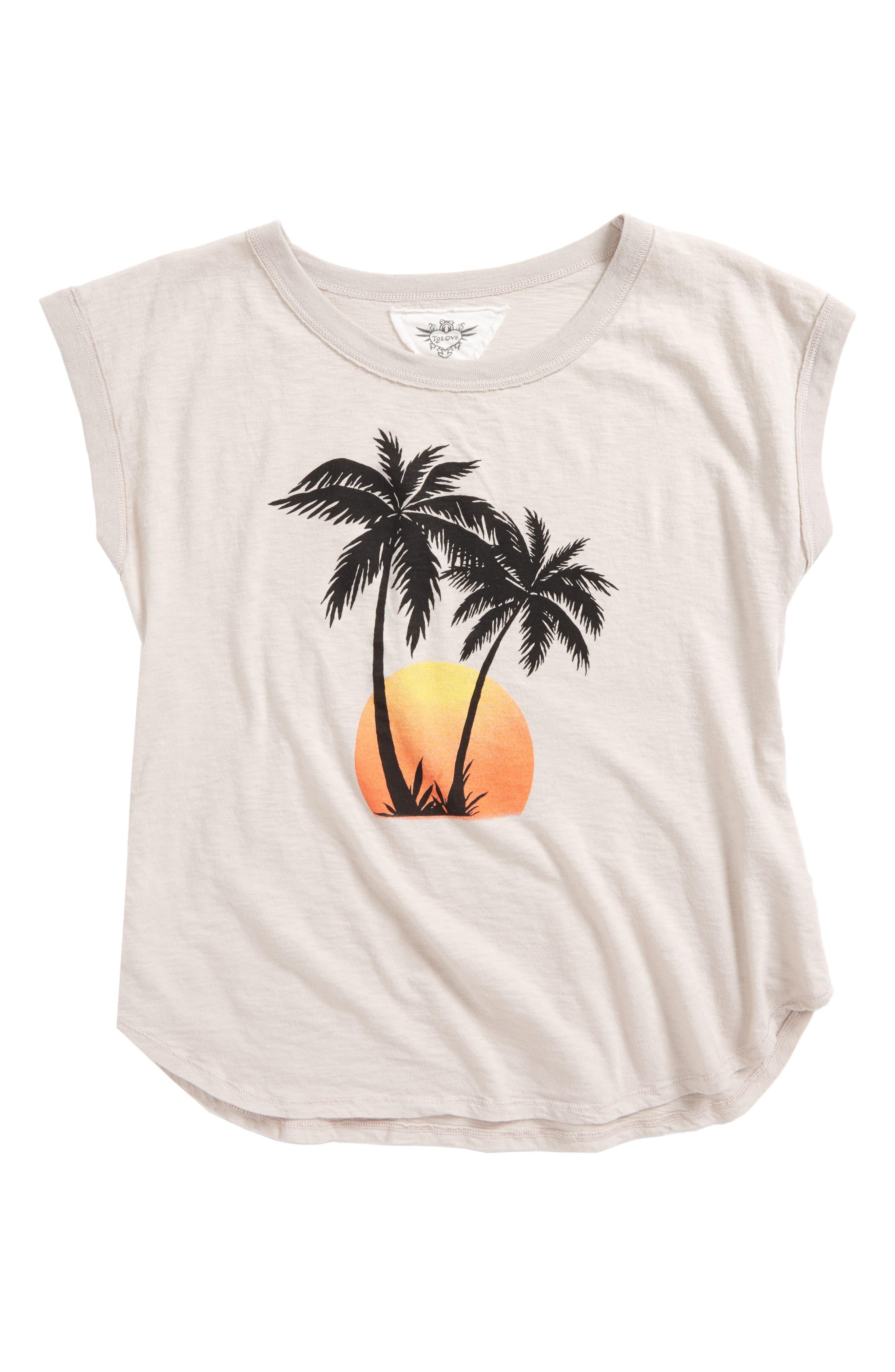 Main Image - T2 Love Palm Tree Graphic Tee (Big Girls)