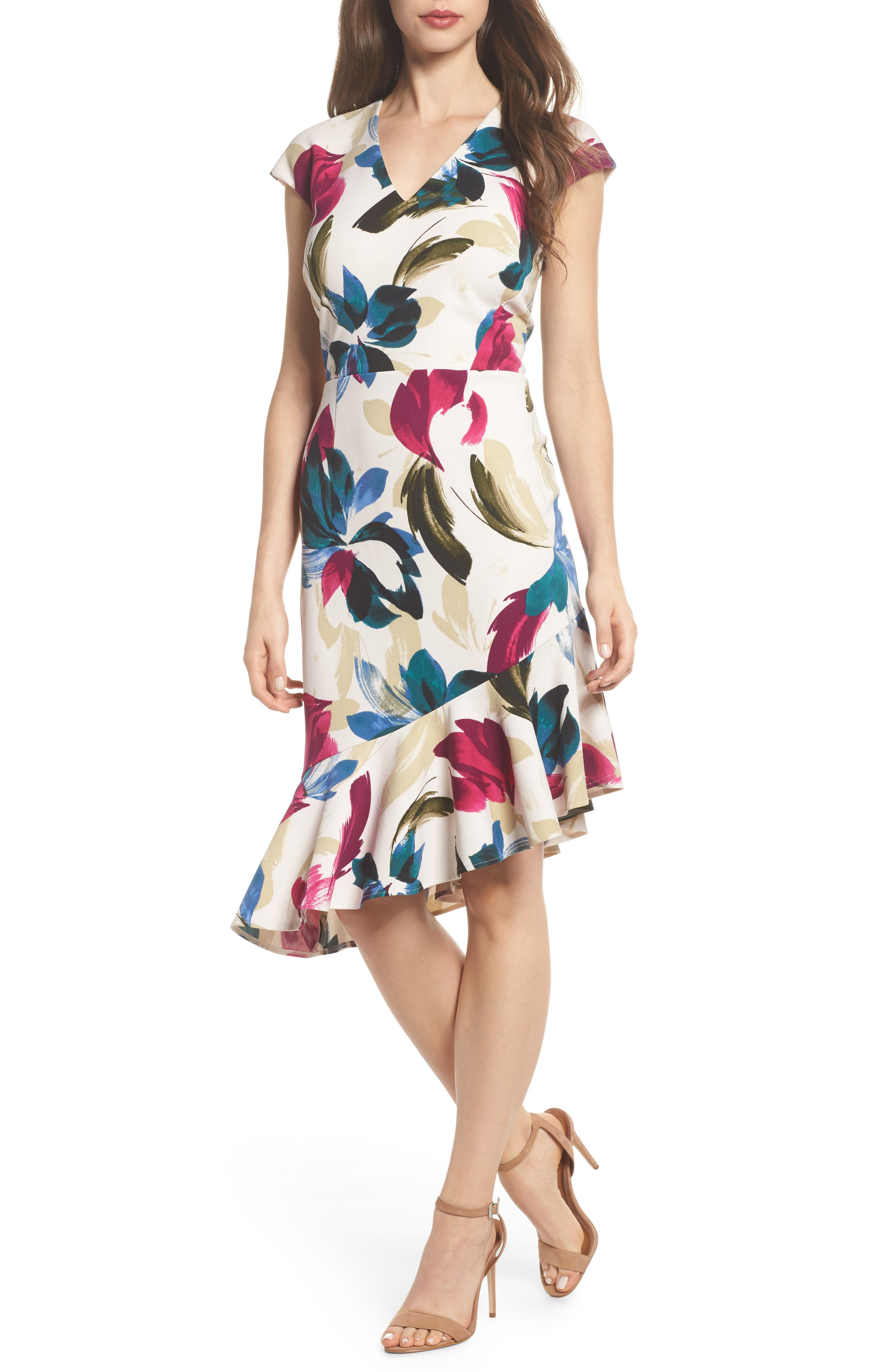 Maggy London Print Crepe Asymmetrical Hem Dress