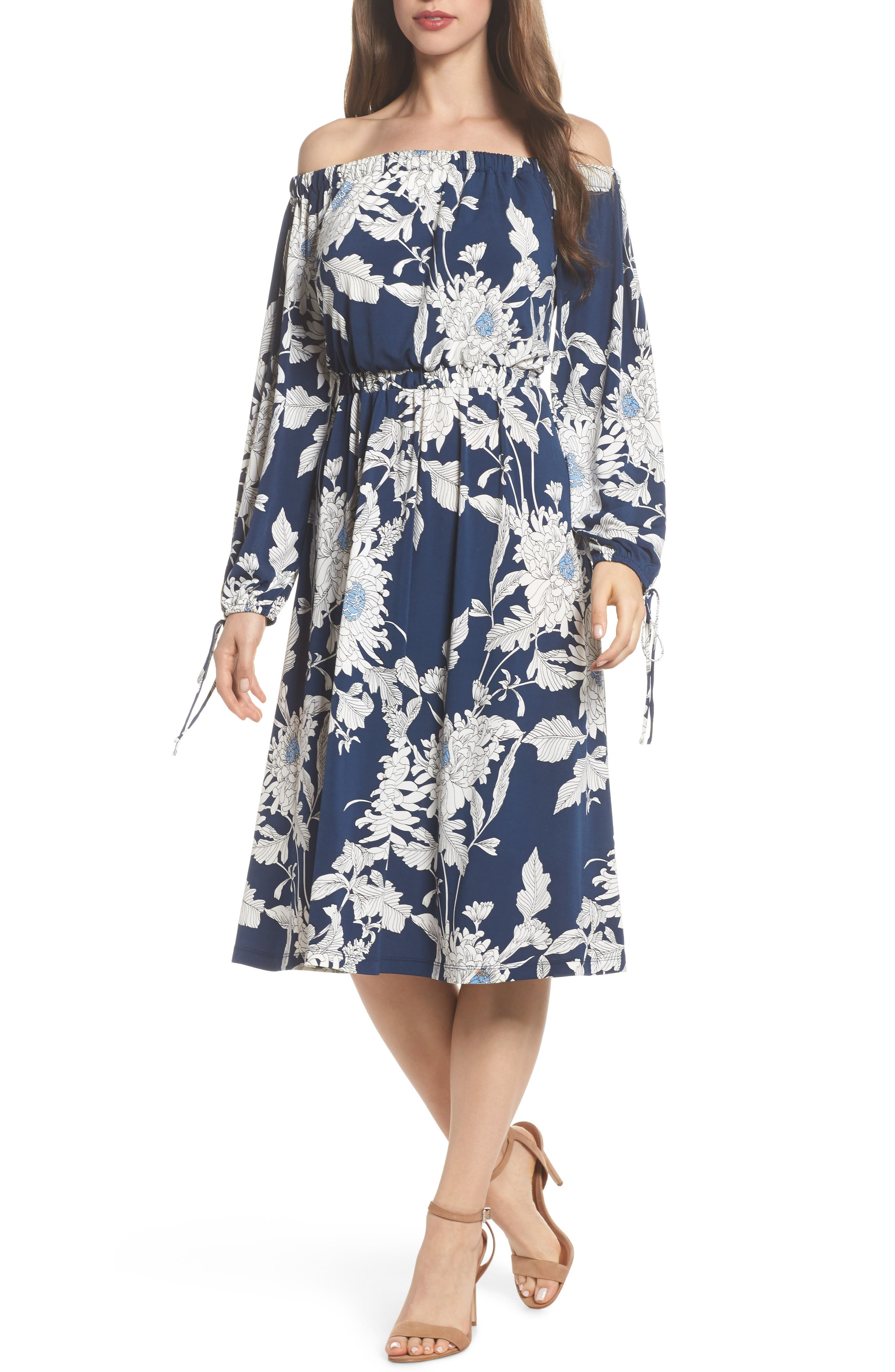 Print Jersey Off the Shoulder Blouson Dress,                         Main,                         color, Navy/ Soft White
