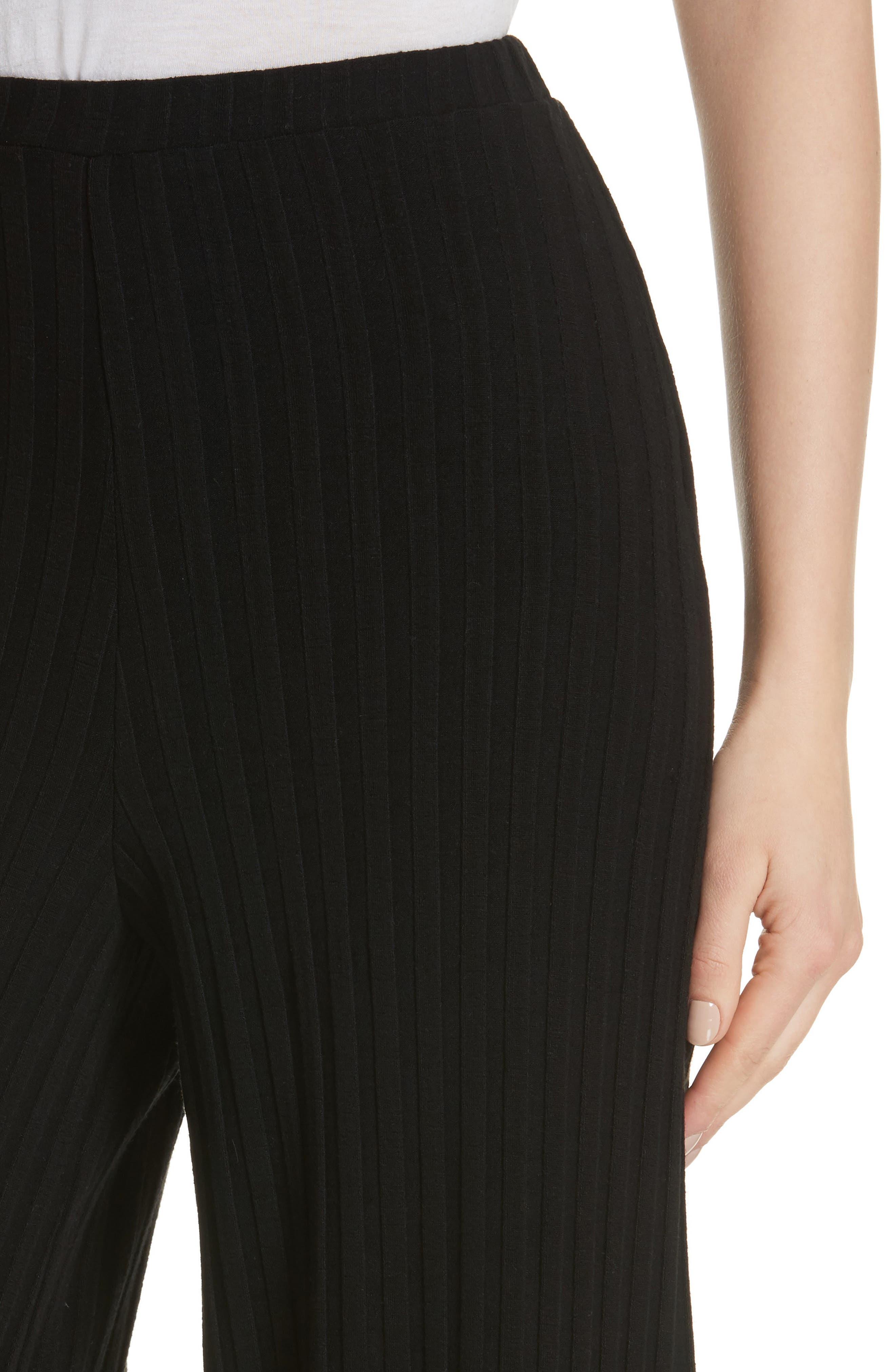 Rian Ribbed Bell Bottom Pants,                             Alternate thumbnail 4, color,                             Black