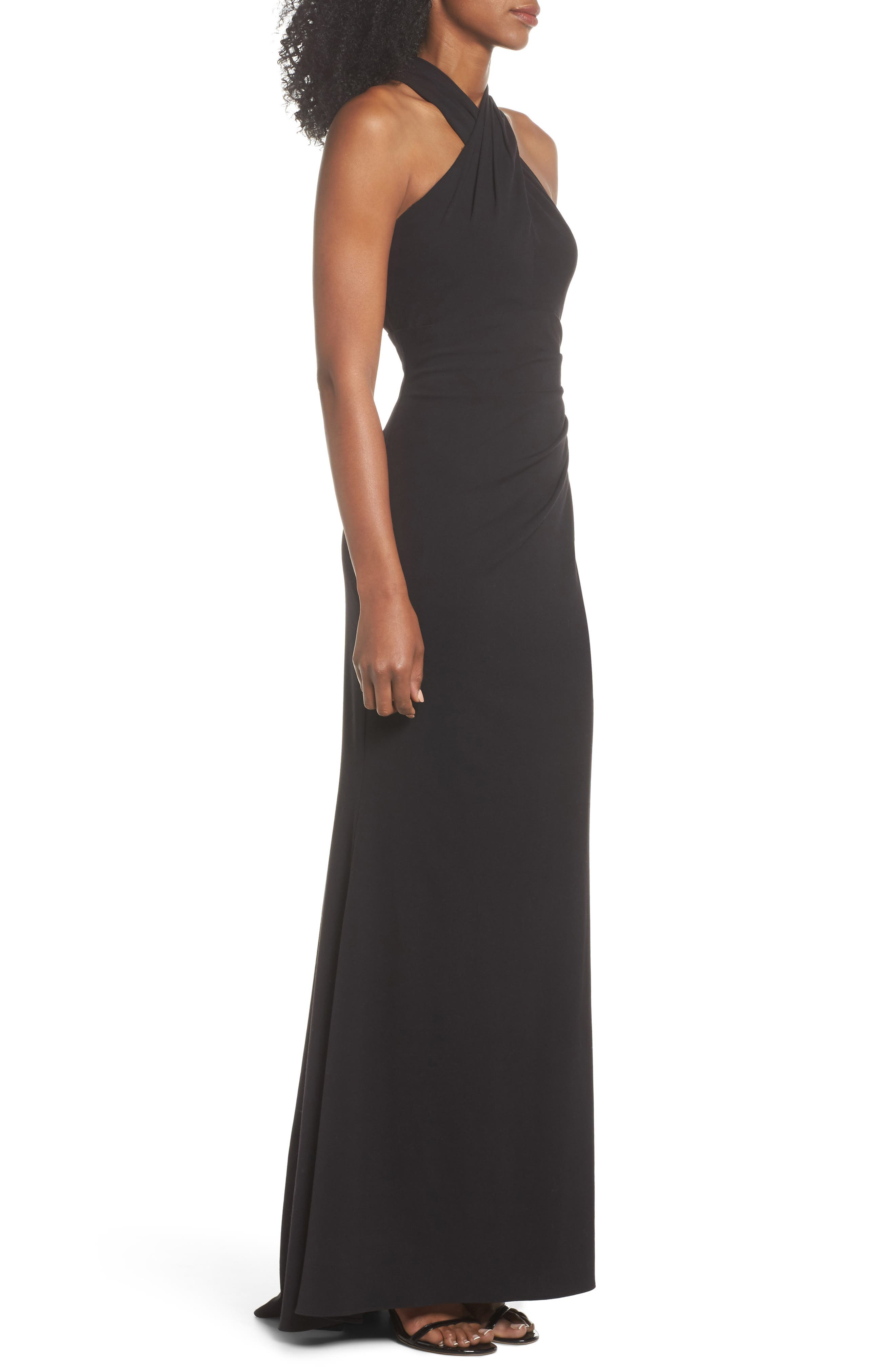Side Pleat Crossneck Gown,                             Alternate thumbnail 3, color,                             Black