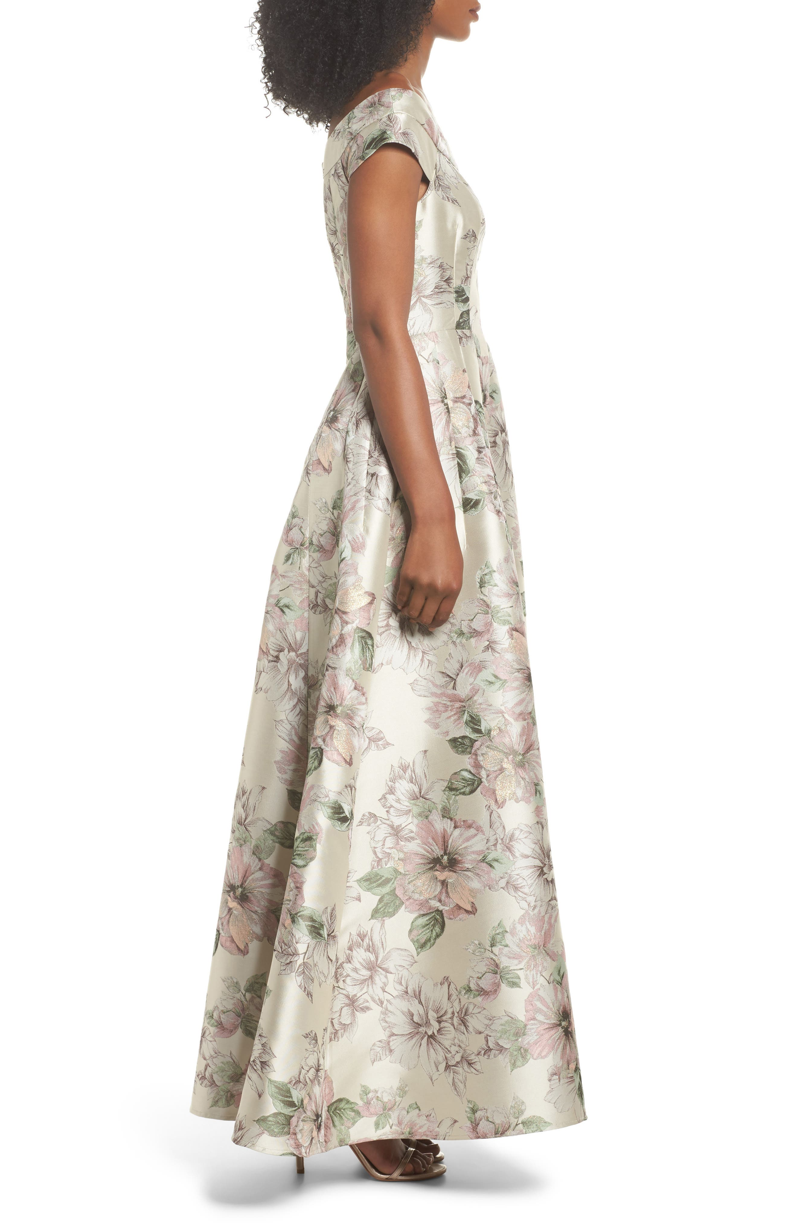 Floral Jacquard Off the Shoulder Ballgown,                             Alternate thumbnail 3, color,                             Blush