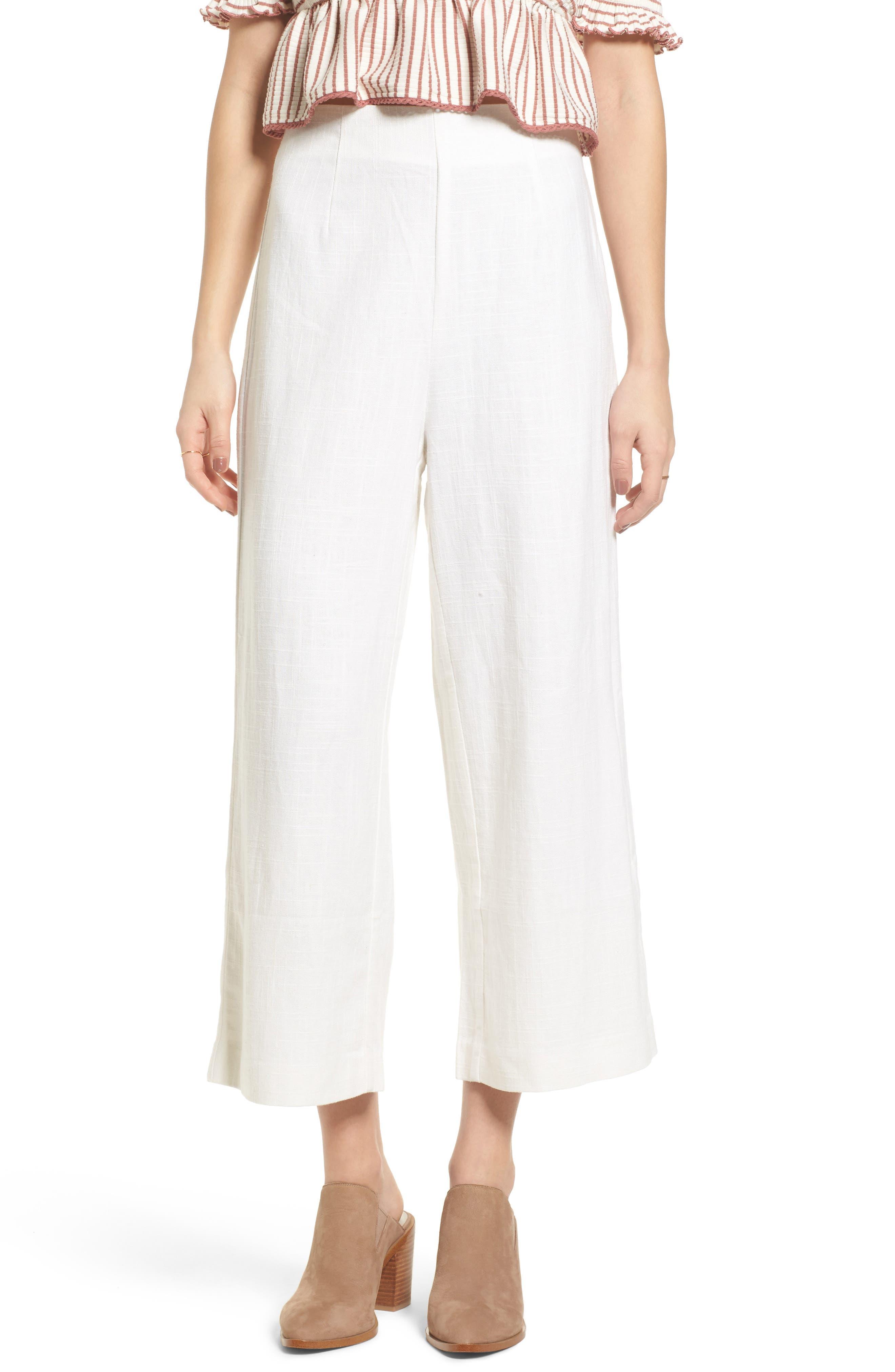 Linen High Waist Crop Pants,                         Main,                         color, White
