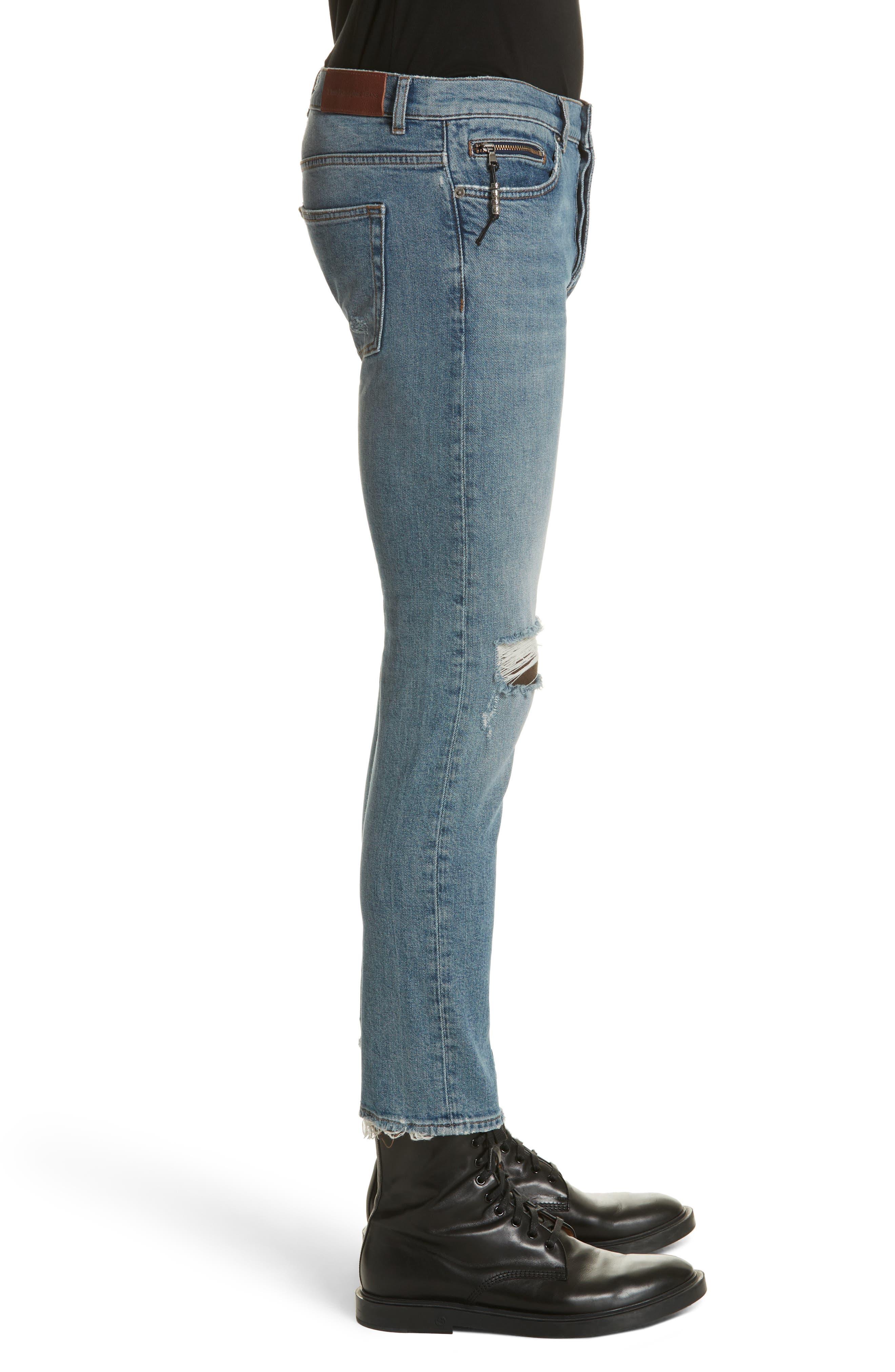 Destroyed Skinny Fit Jeans,                             Alternate thumbnail 3, color,                             Blu 88