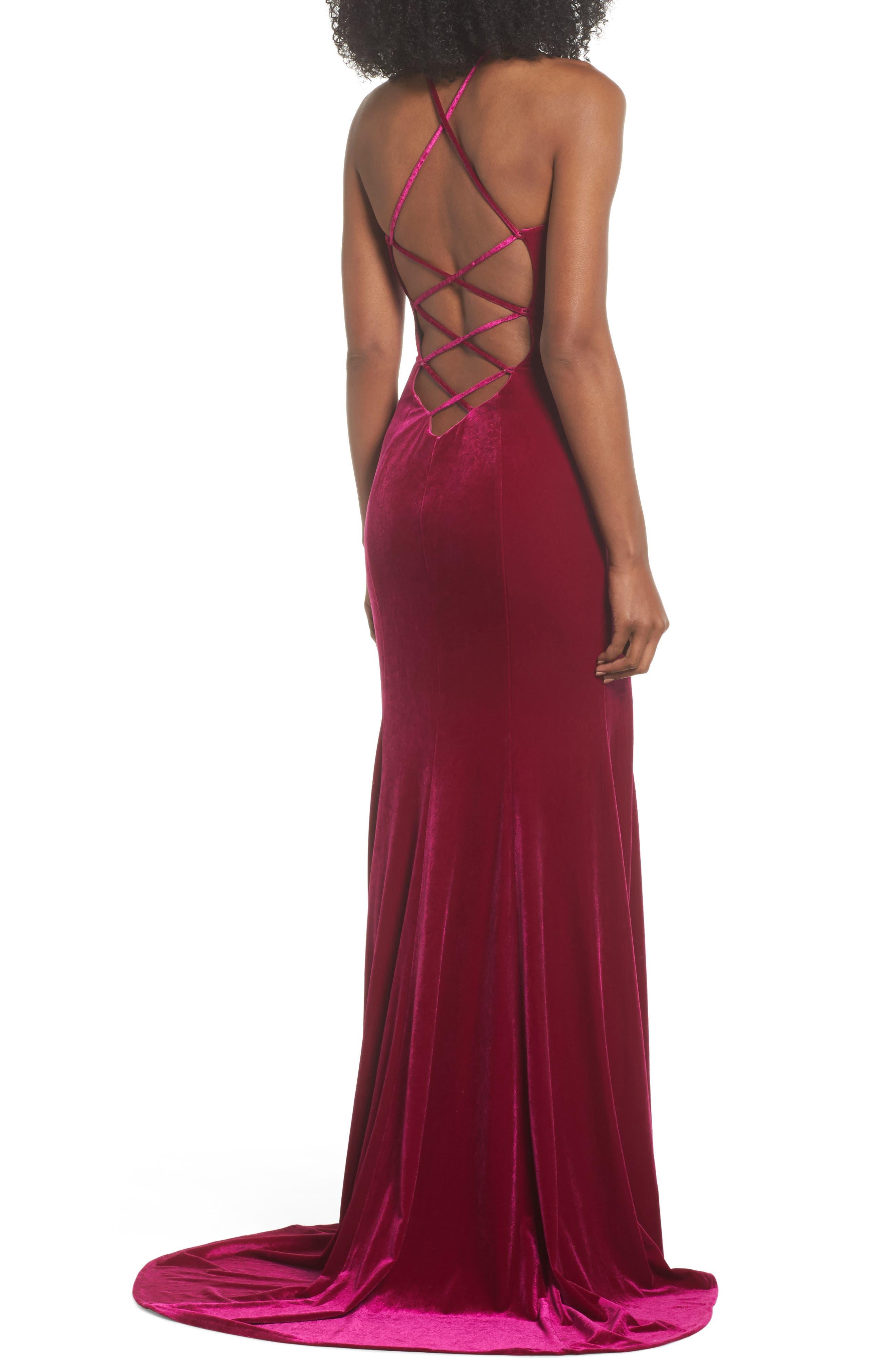 Alternate Image 2  - La Femme Crisscross Back Velvet Gown
