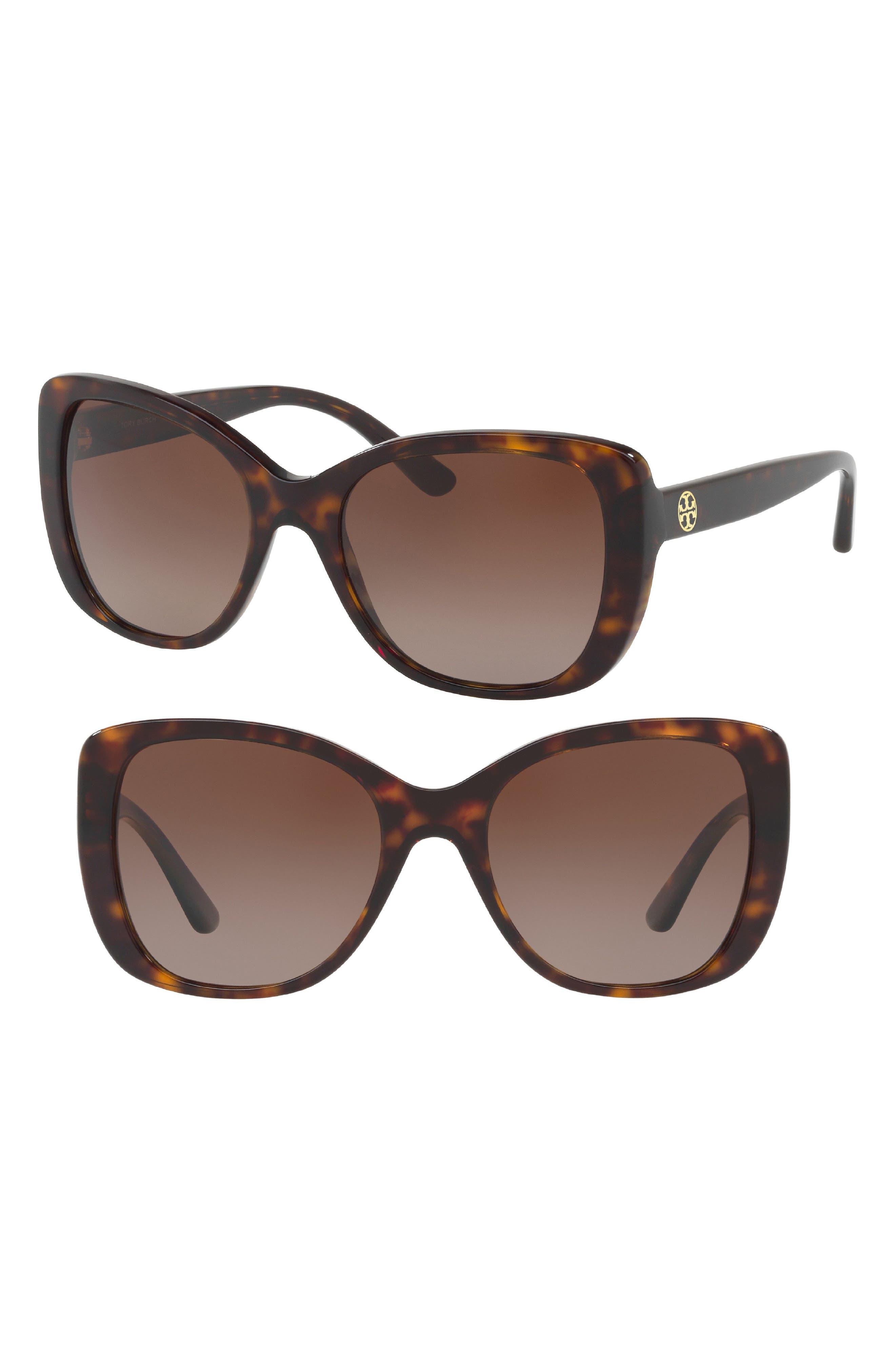 53mm Polarized Rectangle Sunglasses,                             Main thumbnail 1, color,                             Gold/ Green