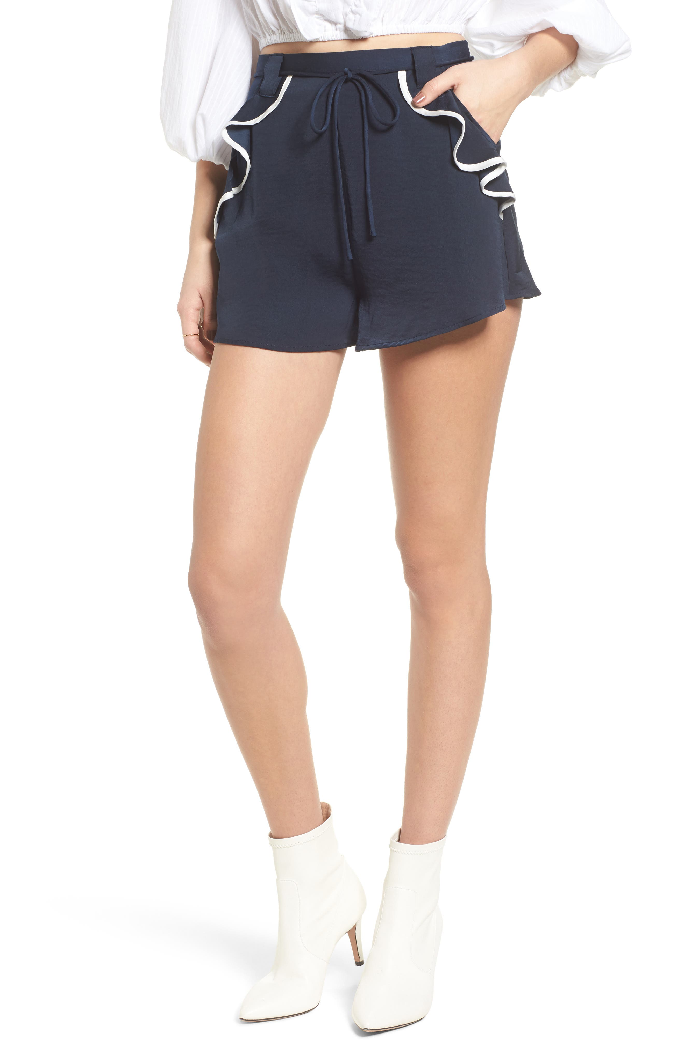 Juliette Ruffle Trim Shorts,                         Main,                         color, Navy
