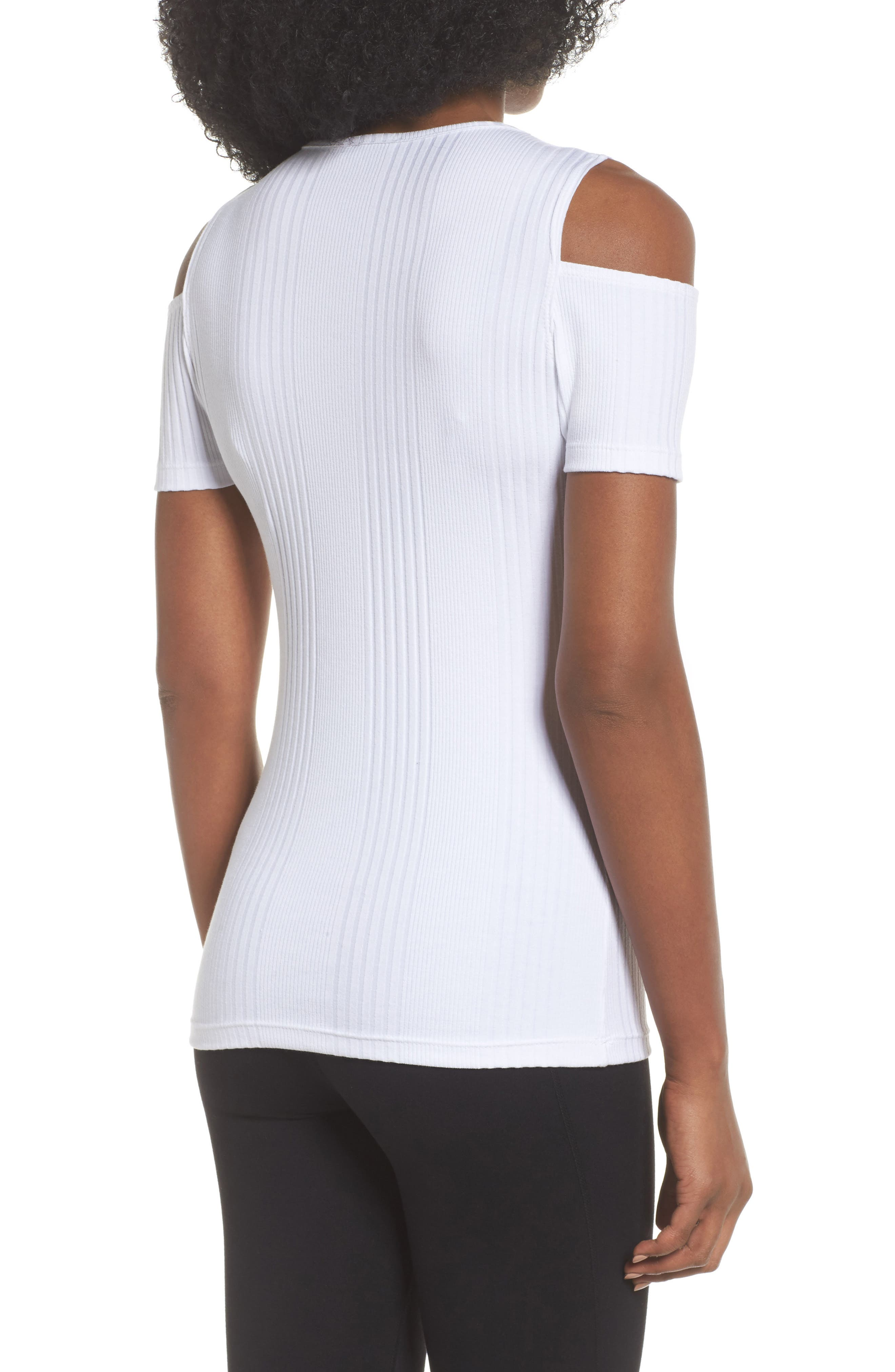 Pershing Cold Shoulder Tee,                             Alternate thumbnail 2, color,                             White