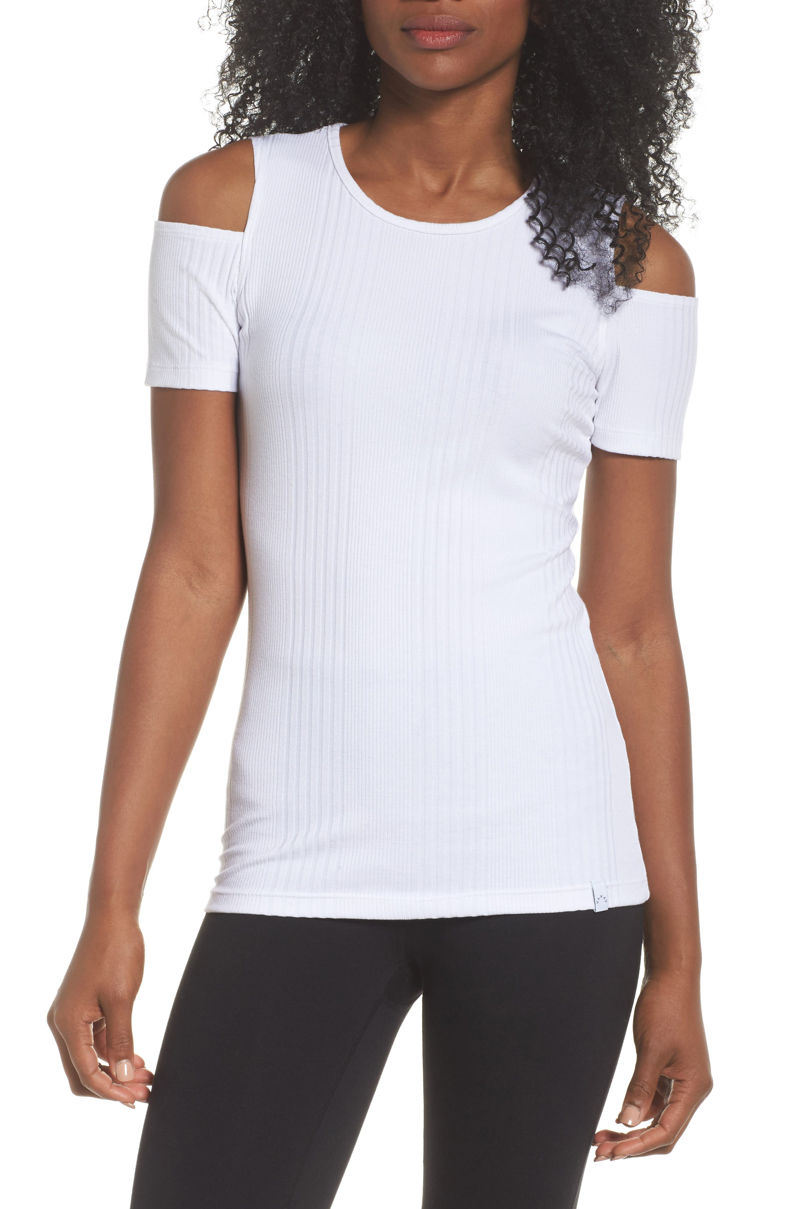 Pershing Cold Shoulder Tee,                         Main,                         color, White