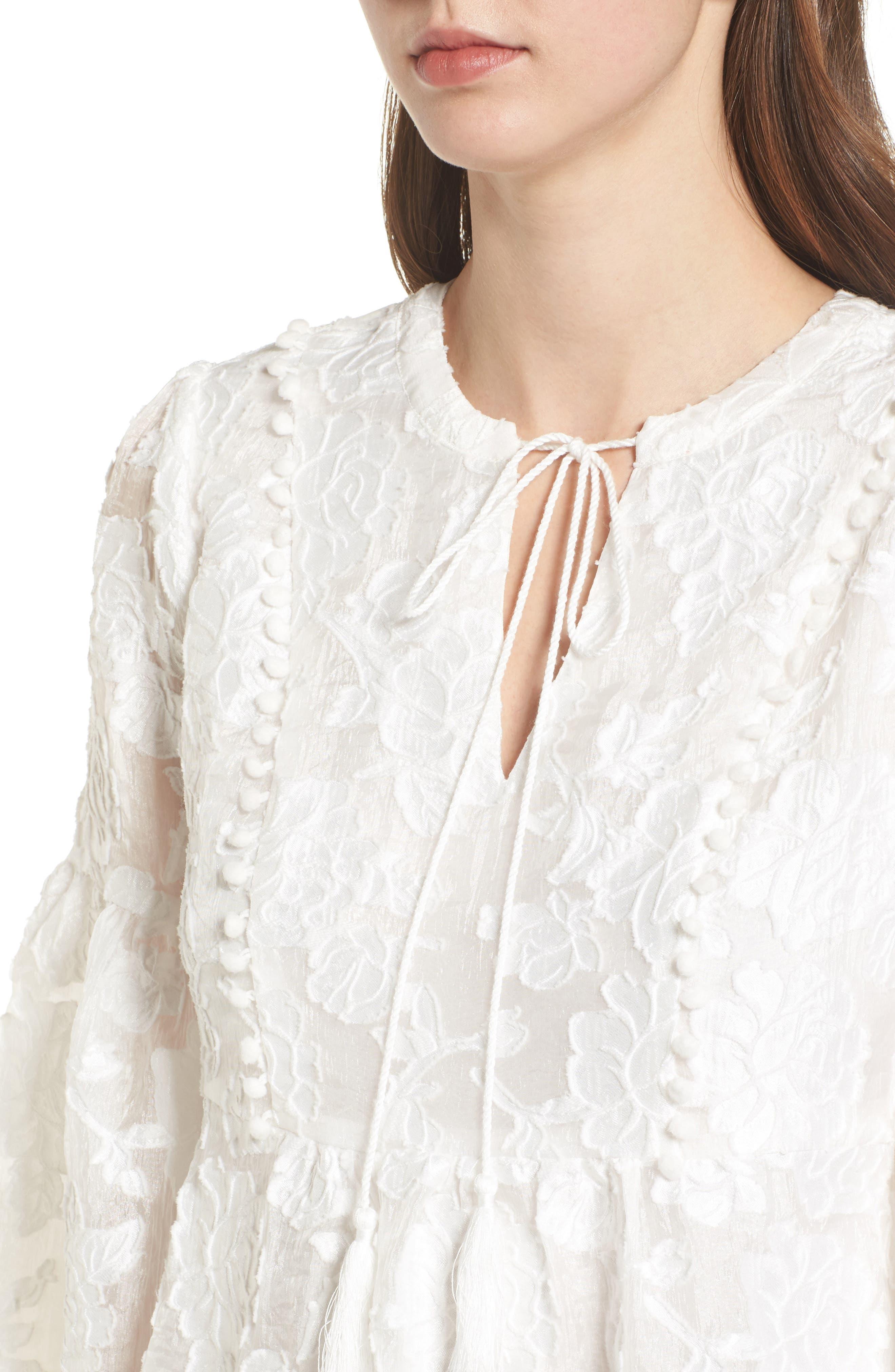 Floral Burnout Dress,                             Alternate thumbnail 5, color,                             White