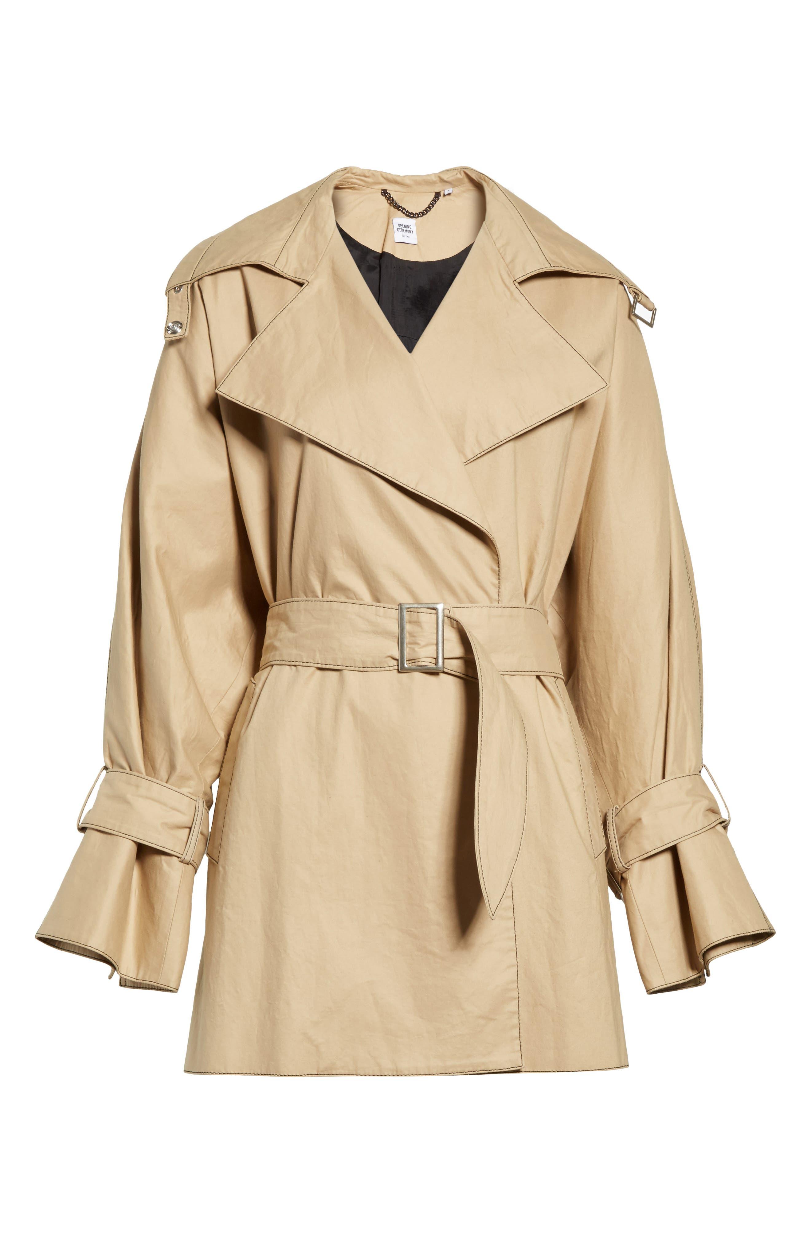 Bonded Poplin Trench Coat,                             Alternate thumbnail 7, color,                             Khaki