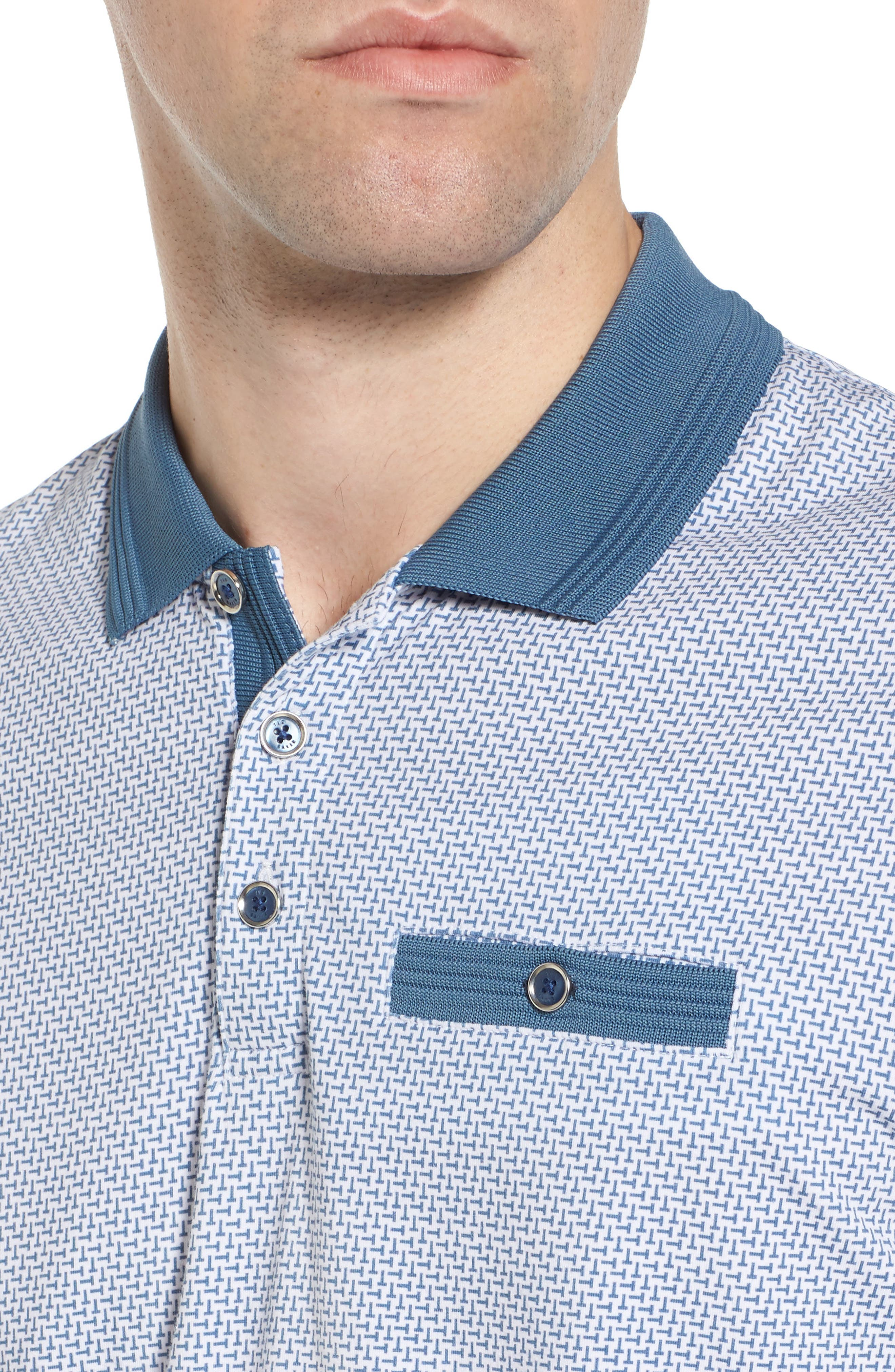 Sloughi Trim Fit Stretch Polo Shirt,                             Alternate thumbnail 4, color,                             Blue