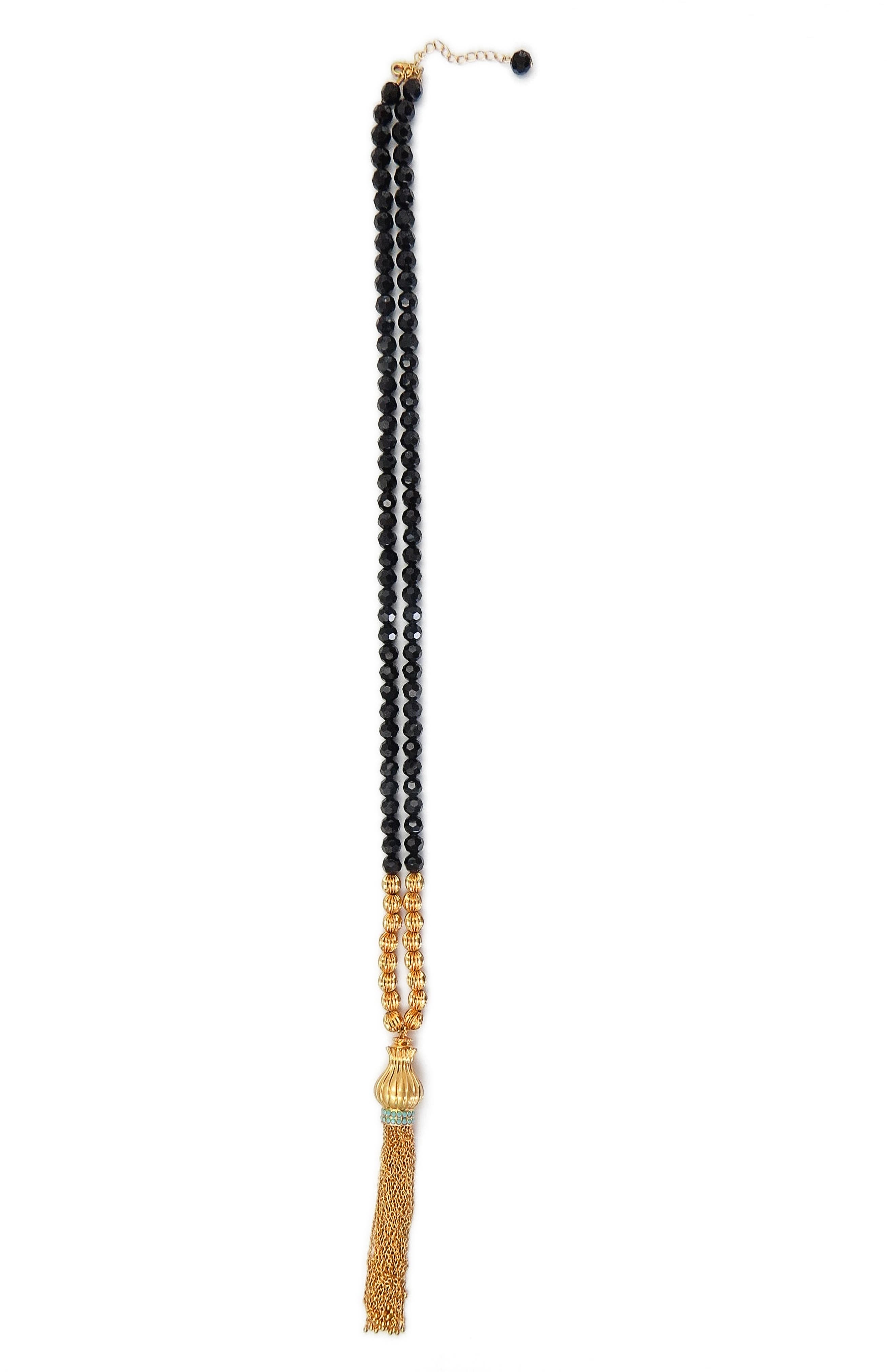 Tassel Beaded Necklace,                             Main thumbnail 1, color,                             Gold