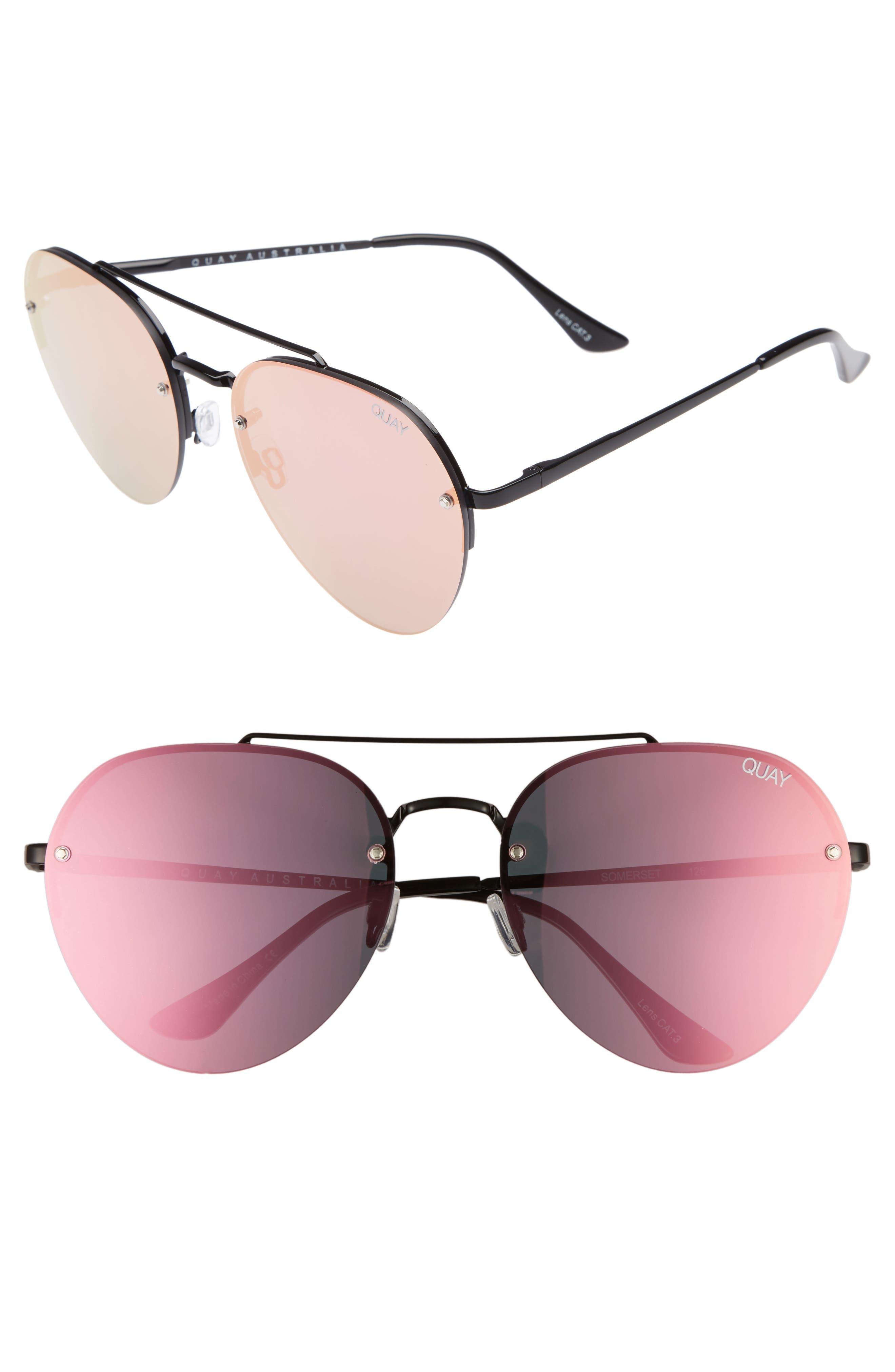 Somerset 65mm Aviator Sunglasses,                             Main thumbnail 1, color,                             Black/ Pink