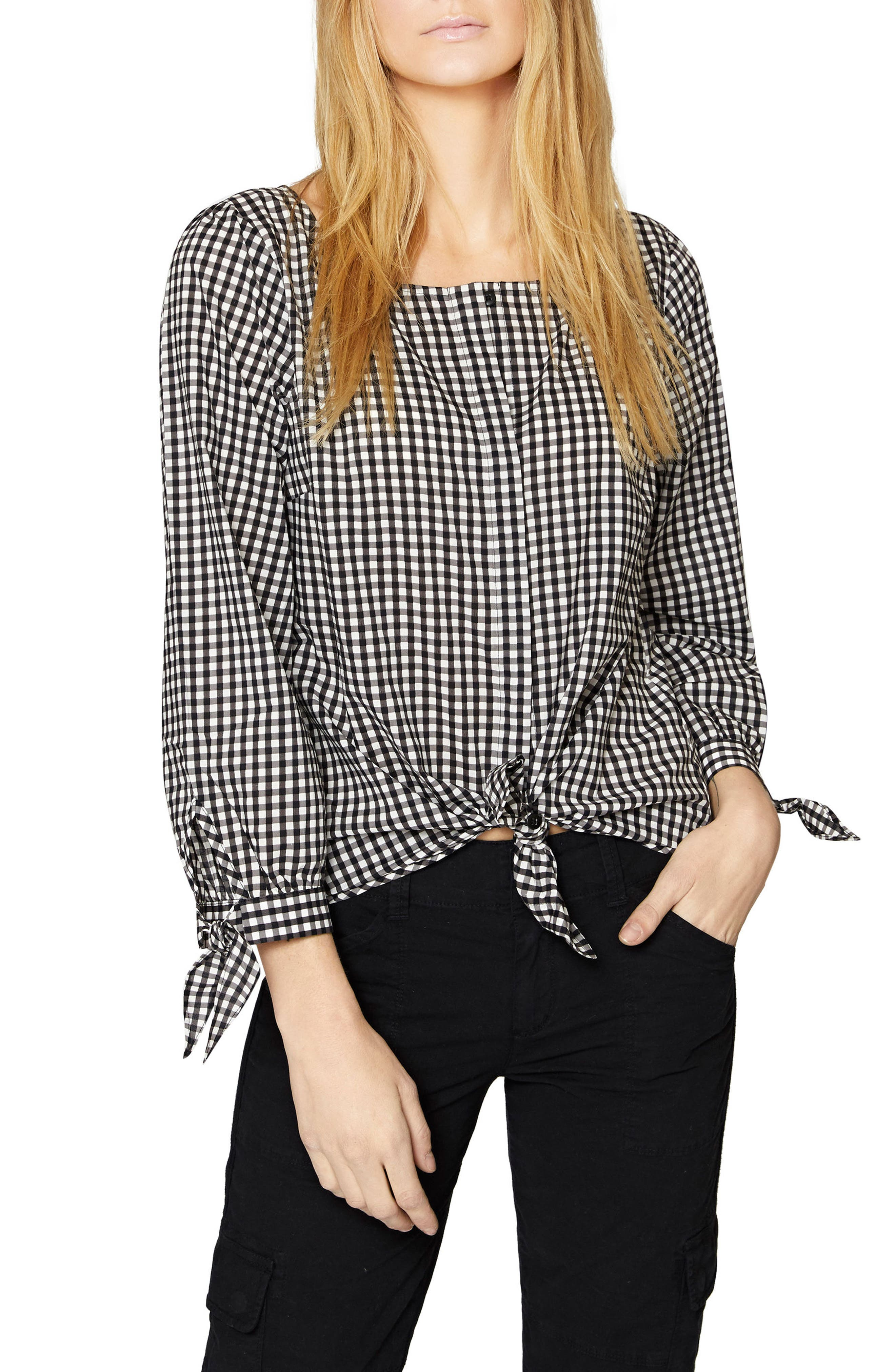 Madie Tie Sleeve Blouse,                         Main,                         color, Bistro Check