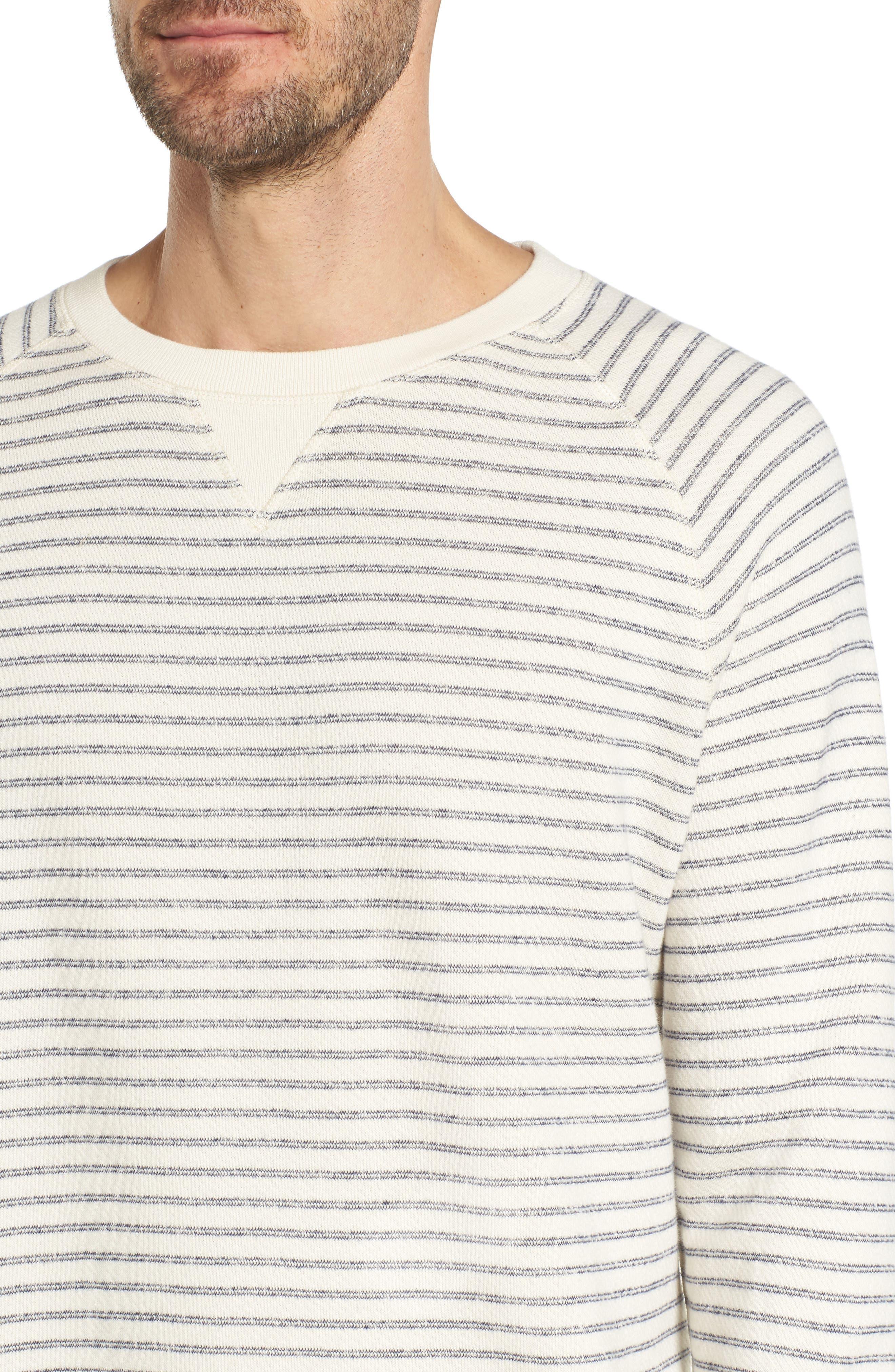 Dalton Stripe Terry Sweatshirt,                             Alternate thumbnail 4, color,                             White/ Navy Stripe