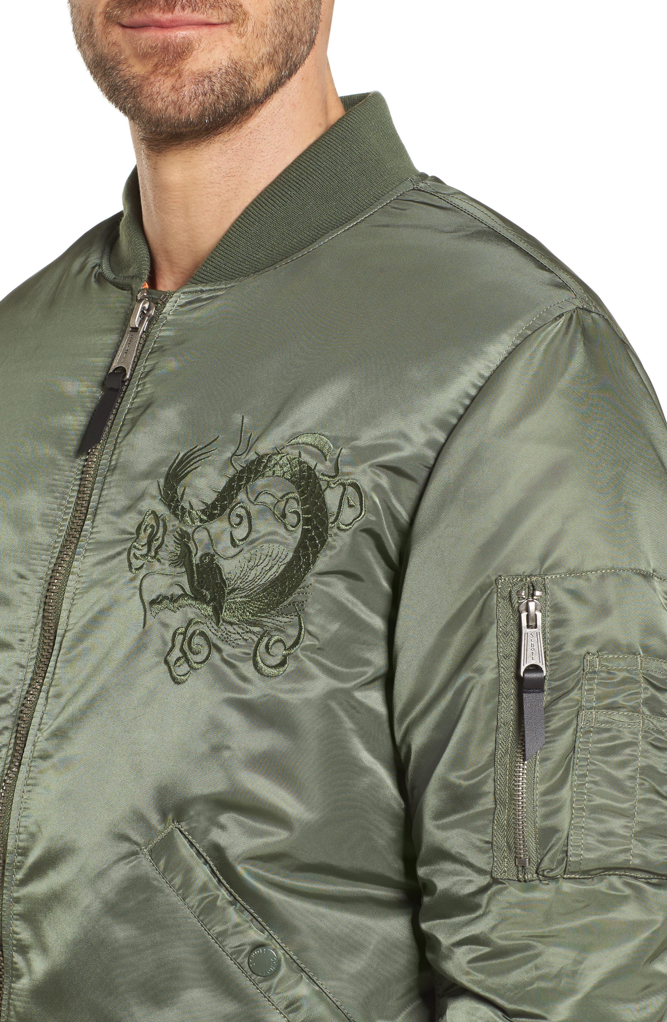 Dragon Embroidered Nylon Flight Jacket,                             Alternate thumbnail 4, color,                             Sage