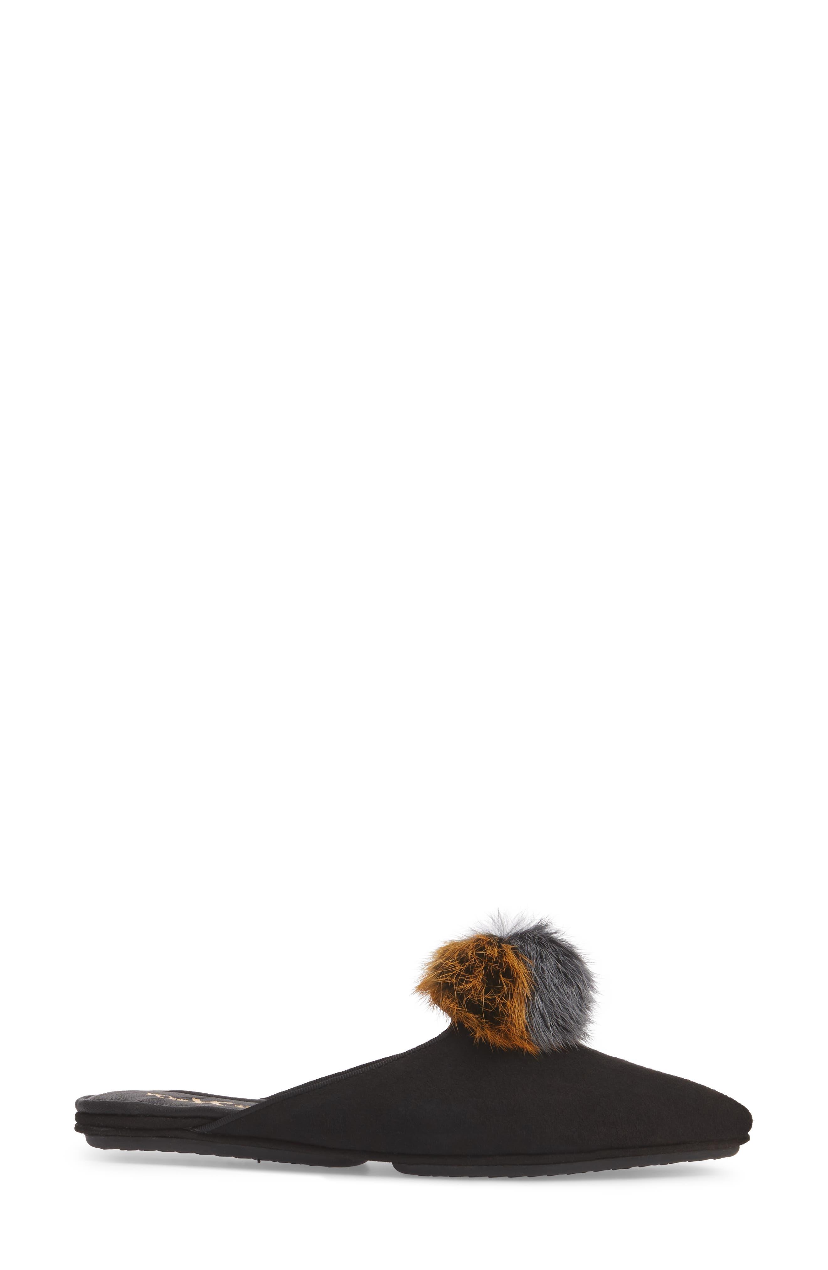 Vidi Genuine Rabbit Fur Loafer Mule,                             Alternate thumbnail 3, color,                             Black Rabbit Fur
