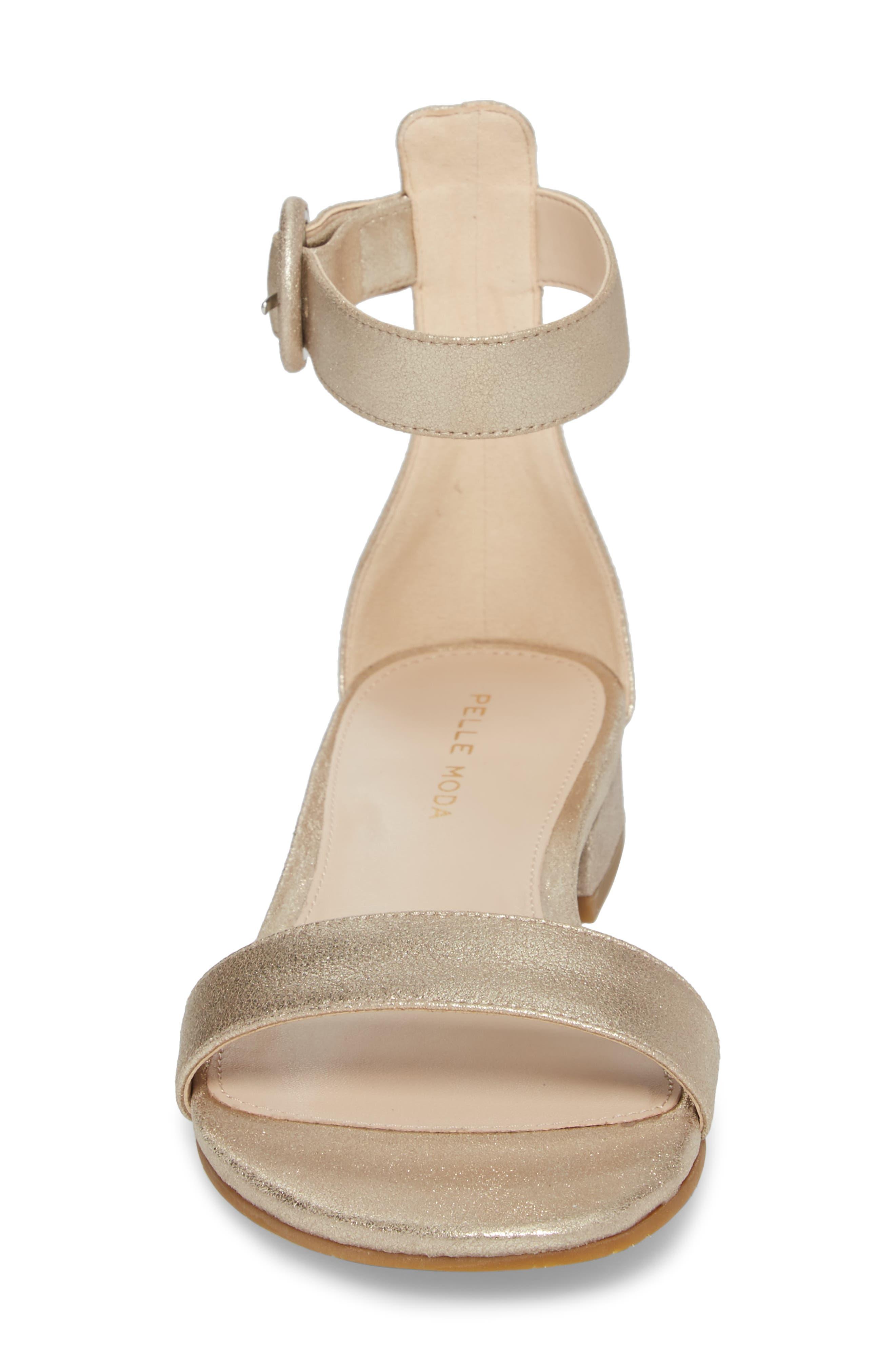 Newport Sandal,                             Alternate thumbnail 4, color,                             Platinum Gold Metallic Suede