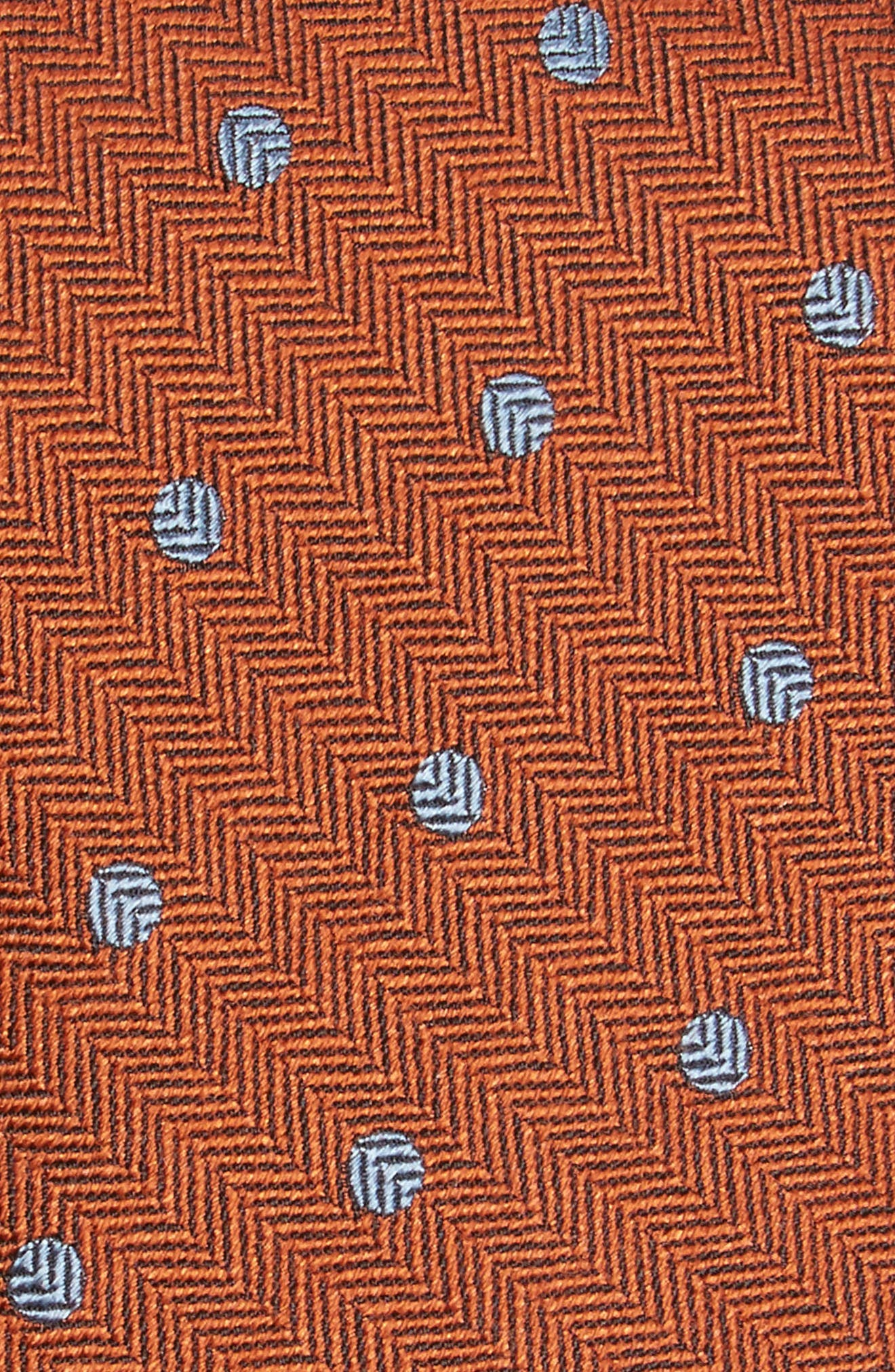 Dotted Hitch Silk & Wool Skinny Tie,                             Alternate thumbnail 2, color,                             Orange