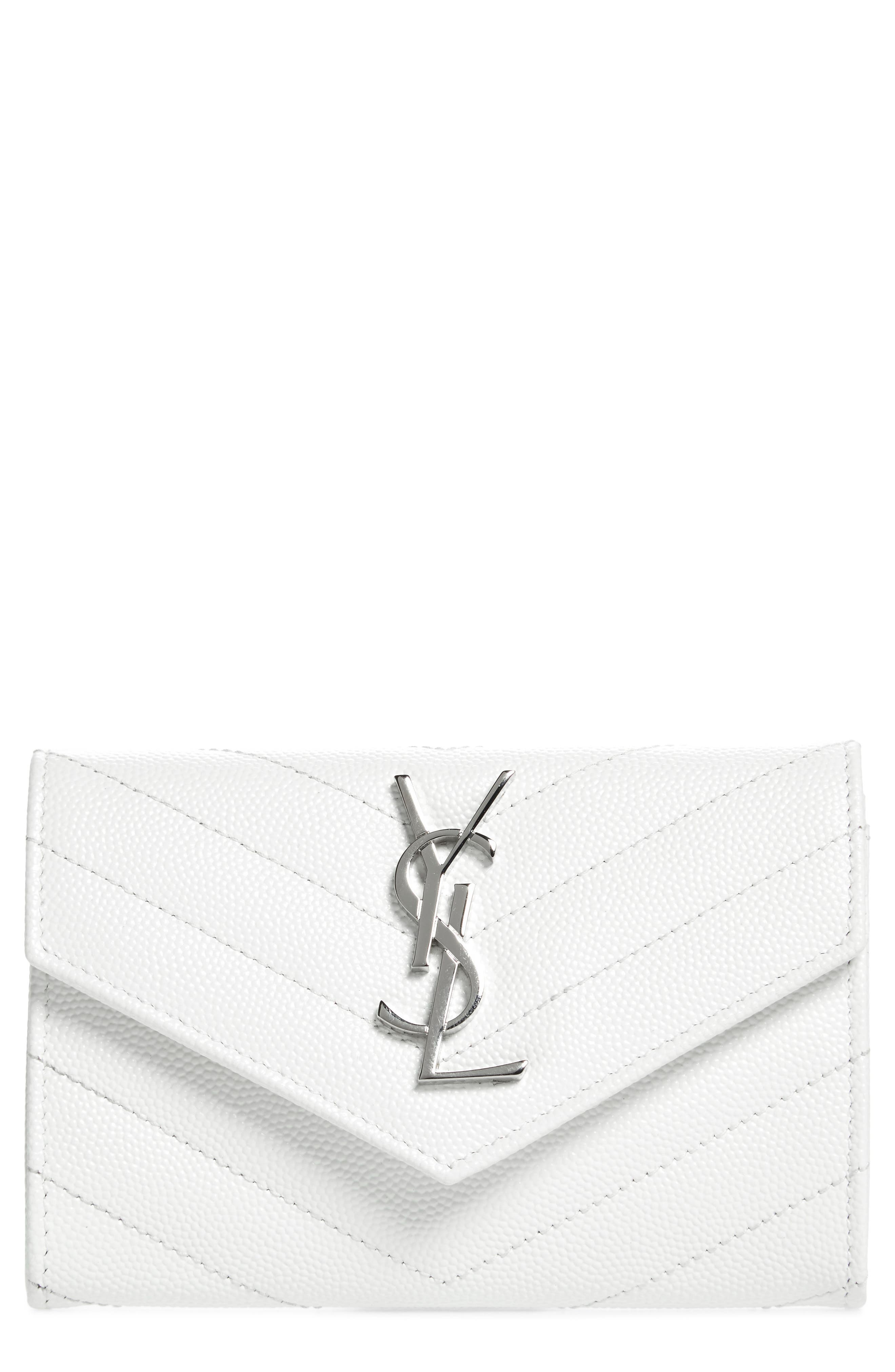 'Small Monogram' Leather French Wallet,                             Main thumbnail 1, color,                             Optic White