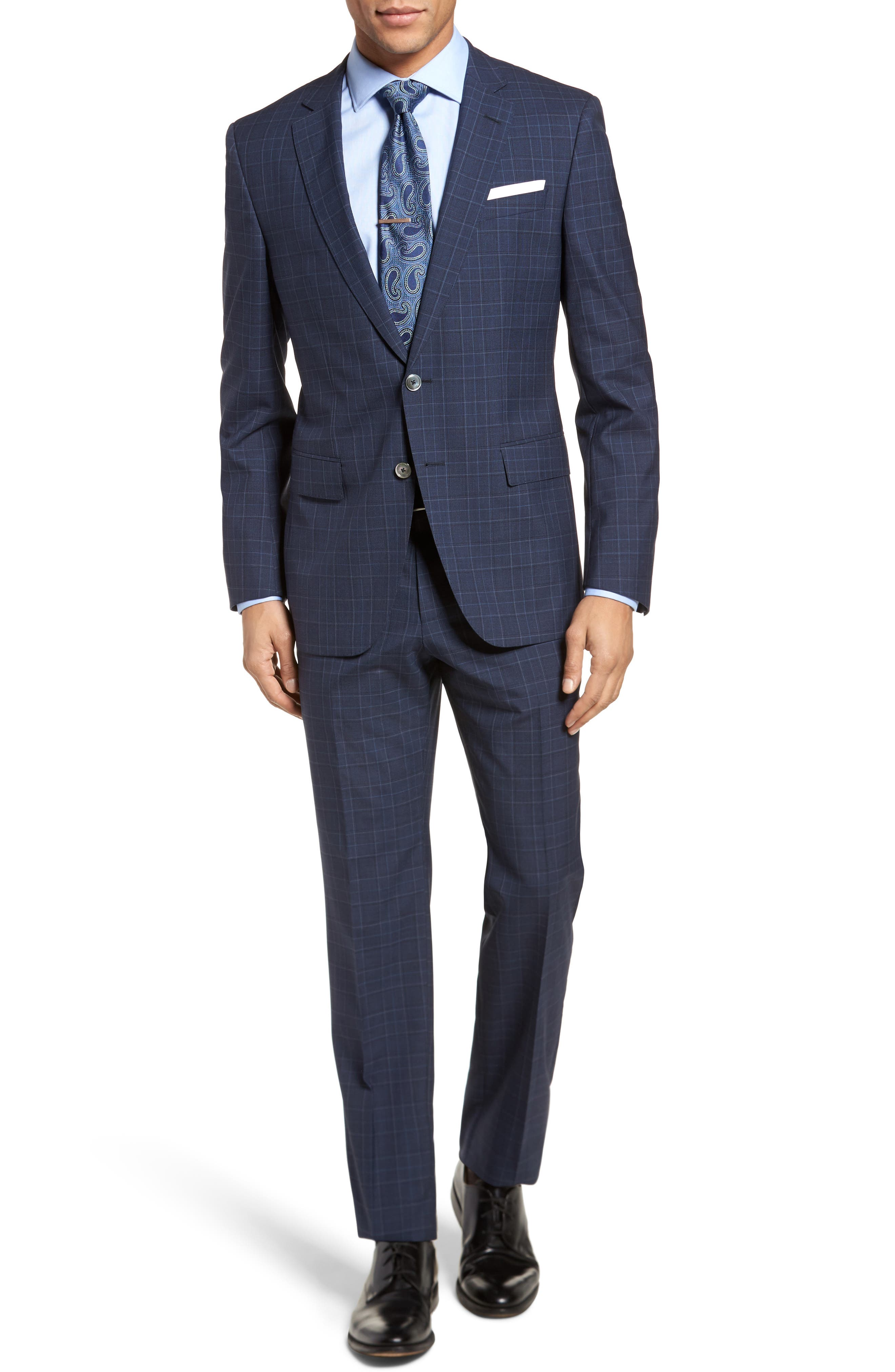 Hutson/Gander Trim Fit Plaid Wool Suit,                         Main,                         color, Navy