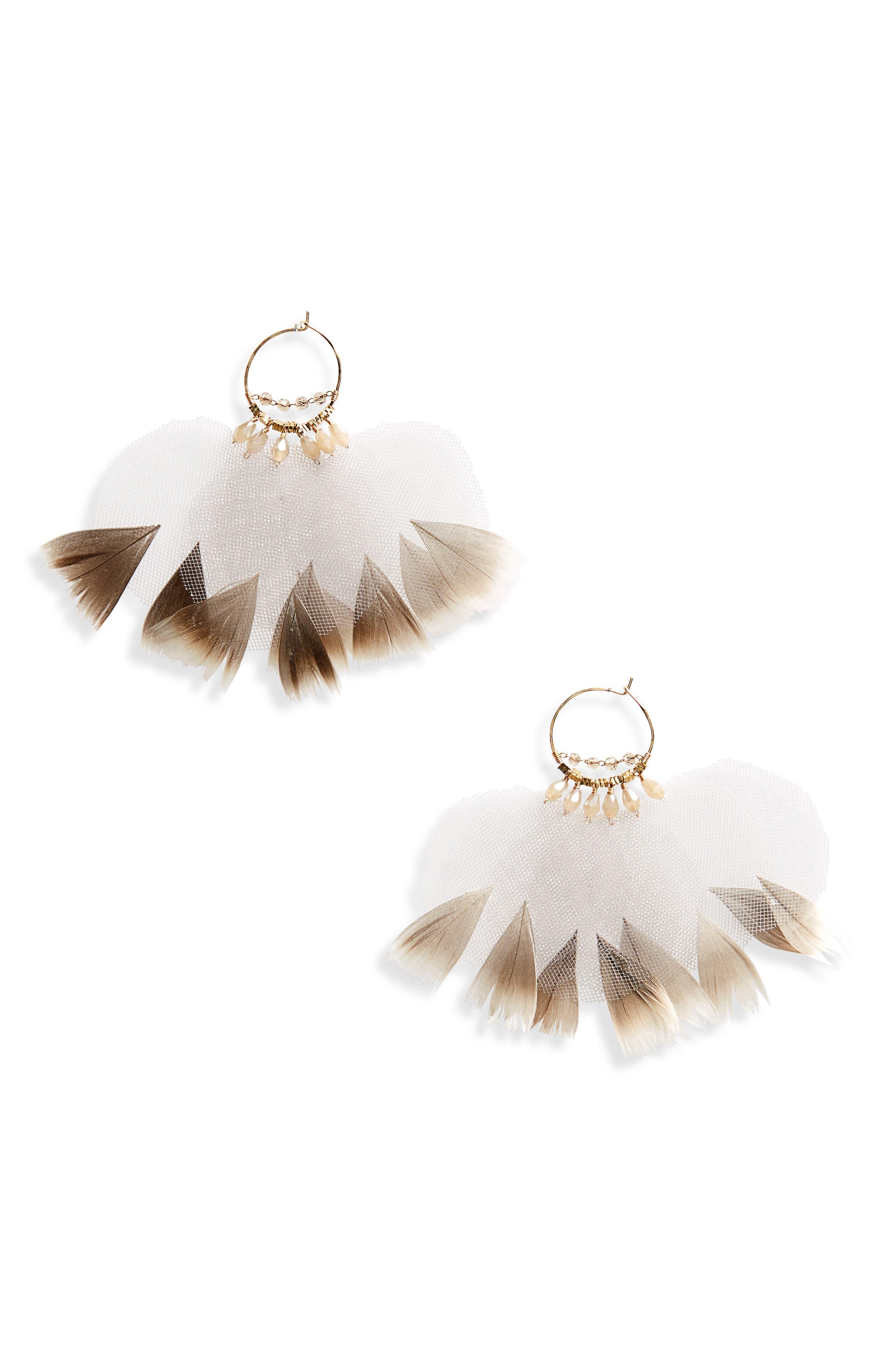 Ballerina Feather Hoop Earrings,                             Main thumbnail 1, color,                             Brown Overflow