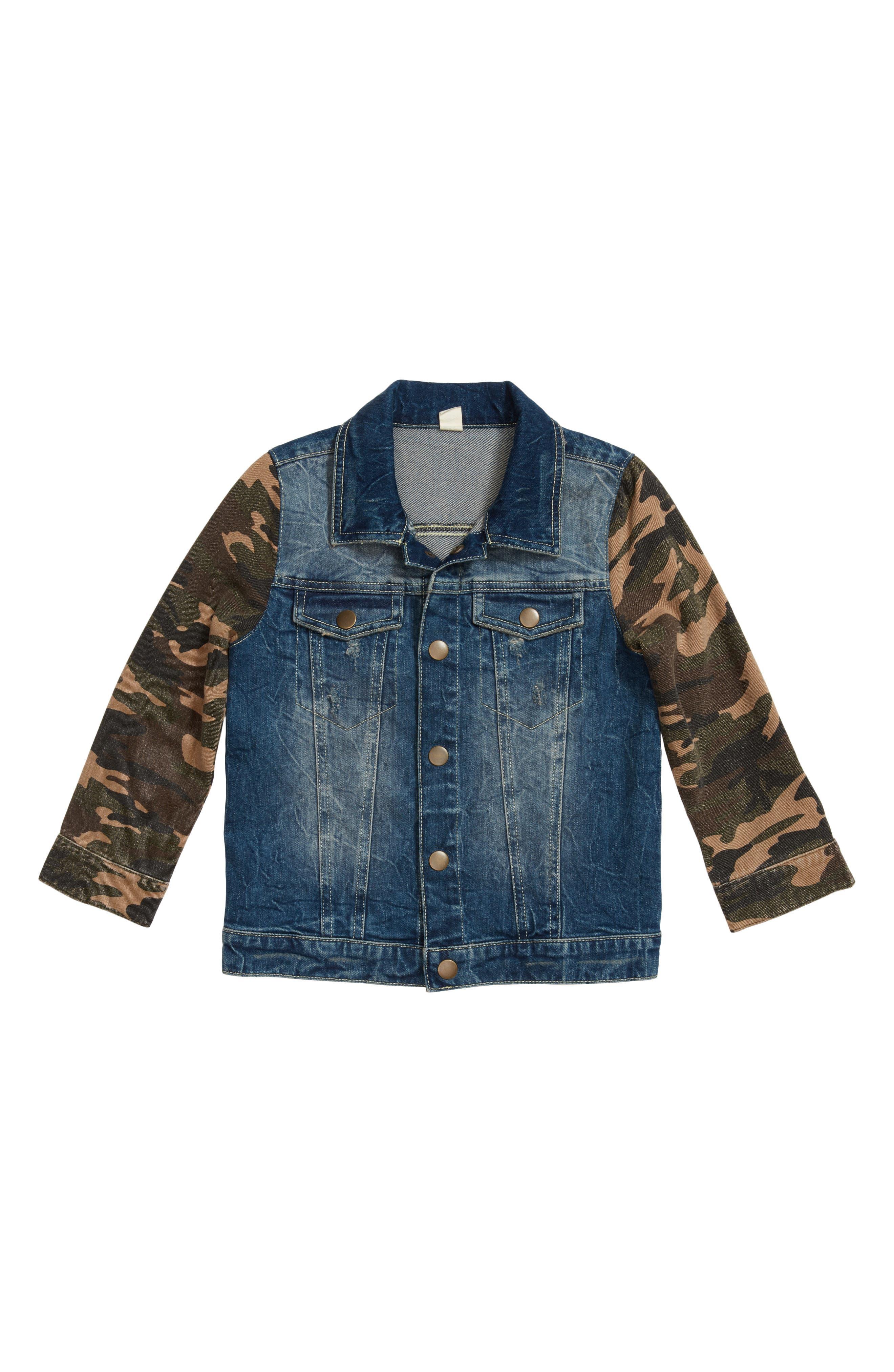 Camo Sleeve Denim Jacket,                             Main thumbnail 1, color,                             Stone Wash