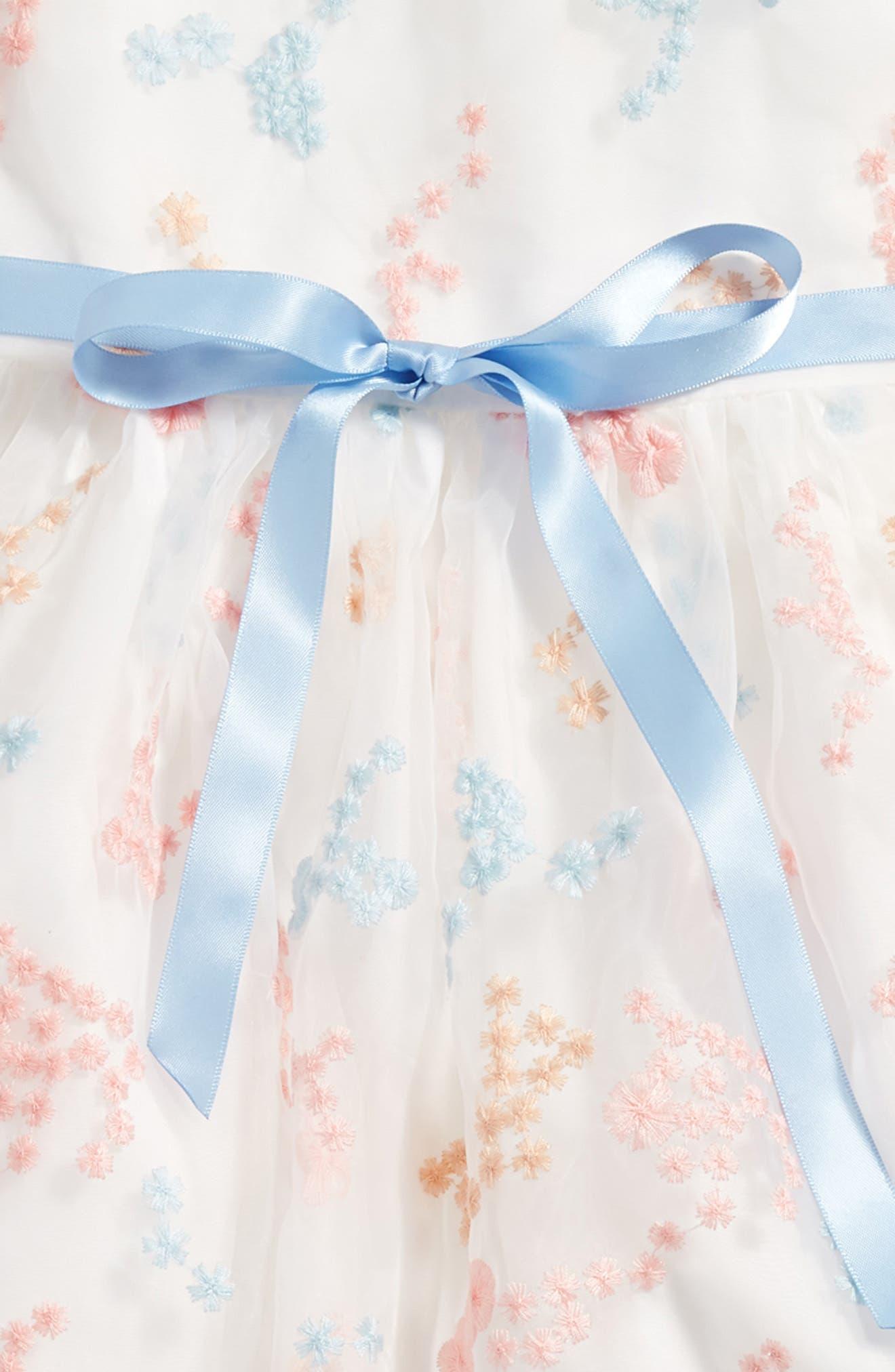 Embroidered Flower Dress,                             Alternate thumbnail 3, color,                             Ivory Multi
