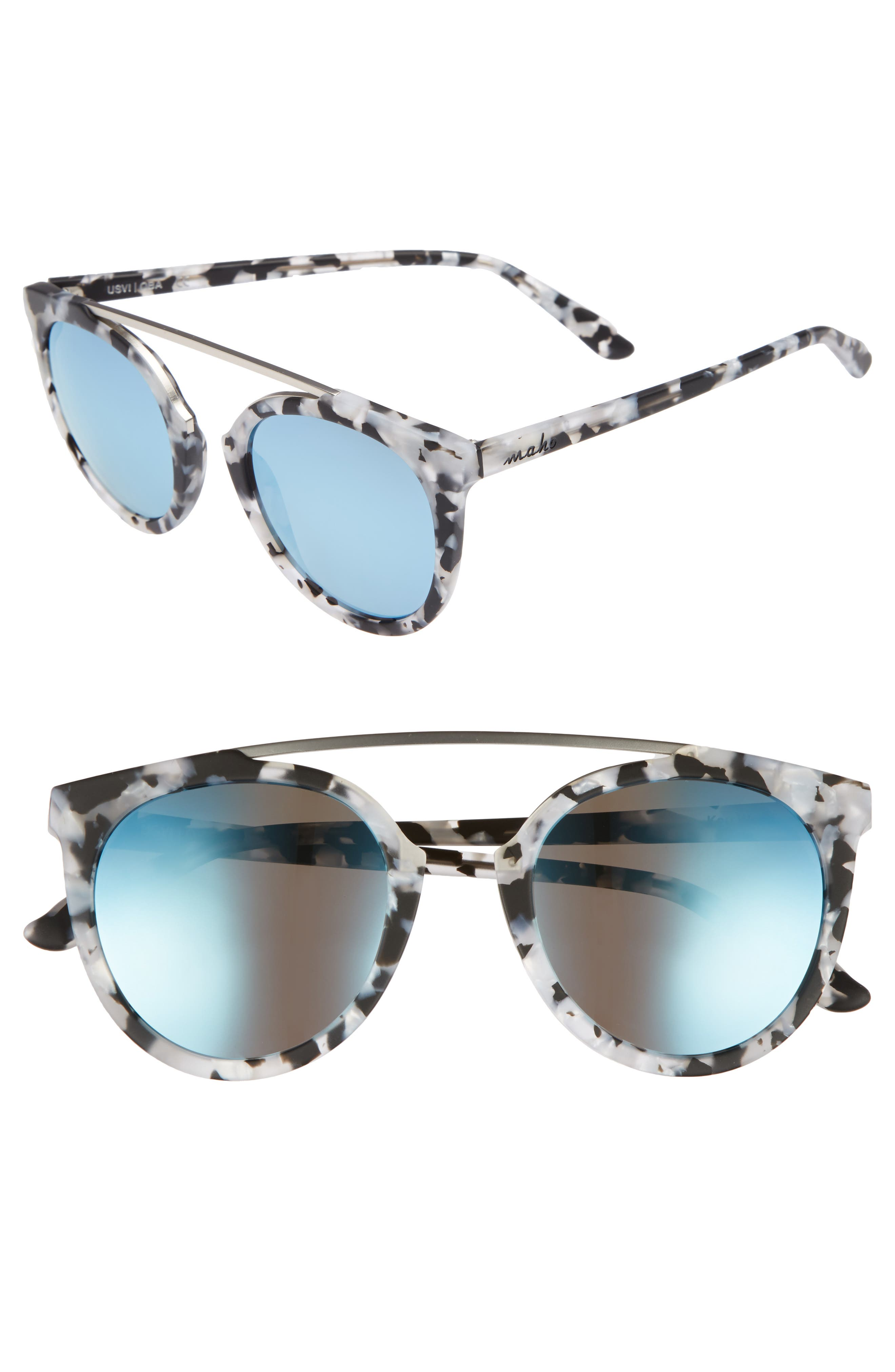 Key West 50mm Polarized Aviator Sunglasses,                         Main,                         color, Marble