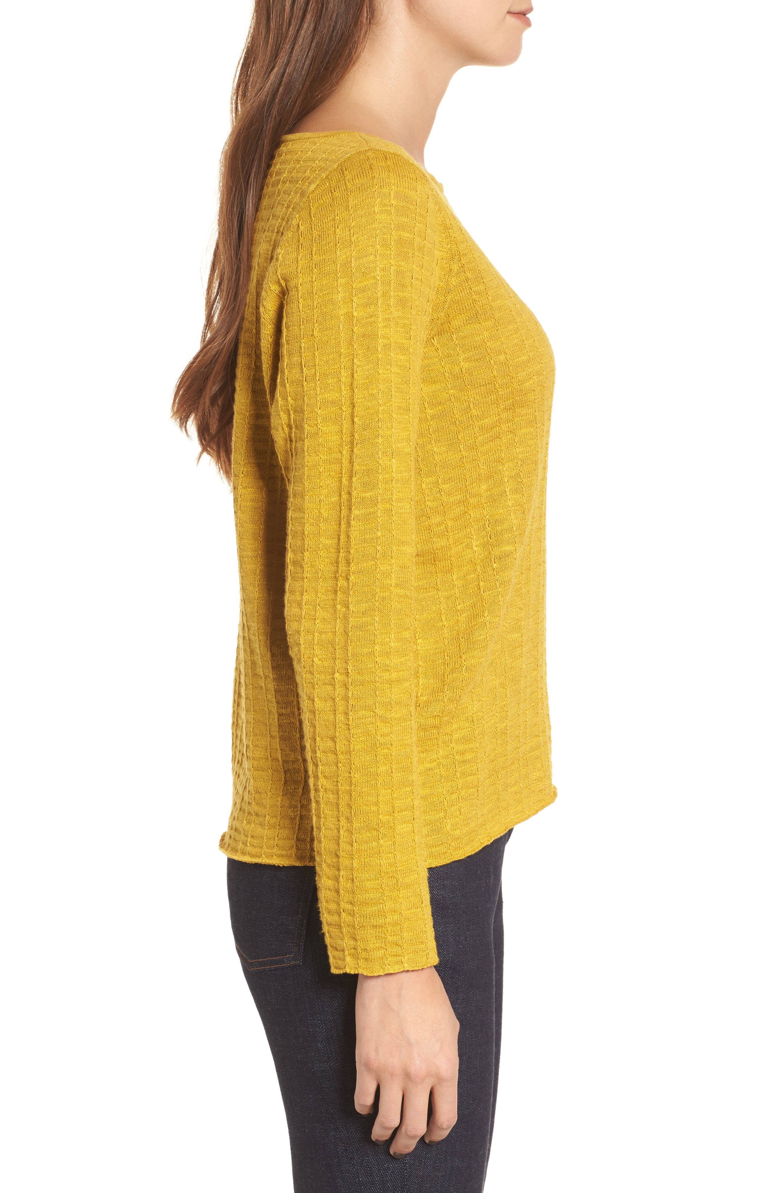 Organic Linen & Cotton Sweater,                             Alternate thumbnail 3, color,                             Mustard Seed