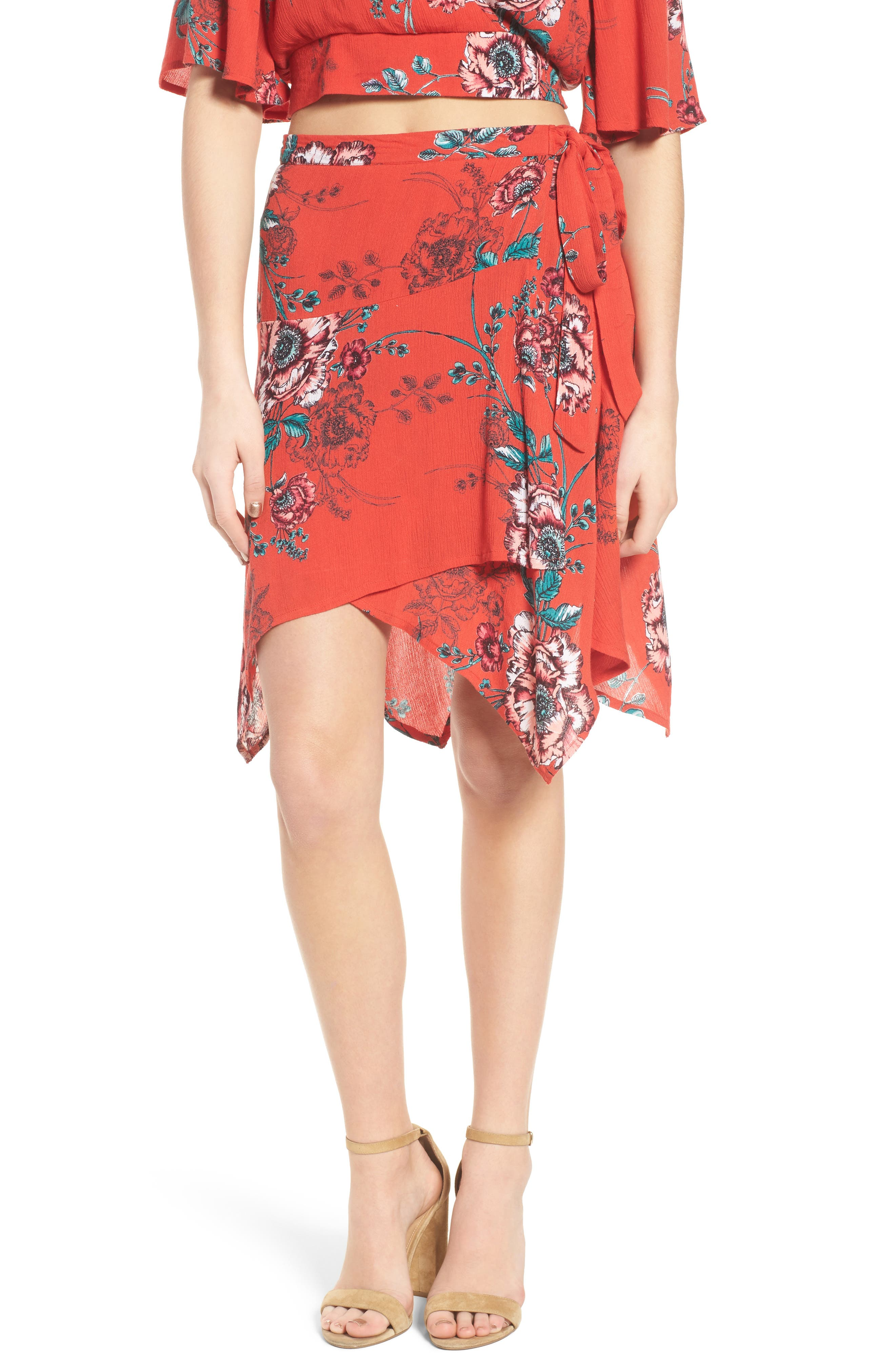 Shadow Floral Faux Wrap Skirt,                         Main,                         color, Red/ Peach