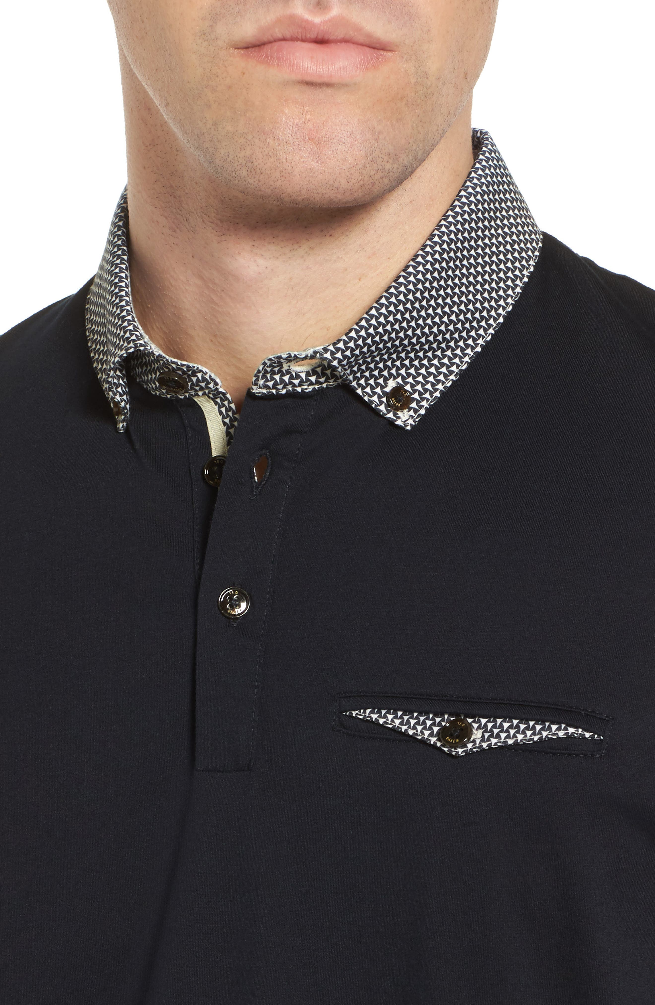 Movey Trim Fit Woven Geo Polo,                             Alternate thumbnail 4, color,                             Navy