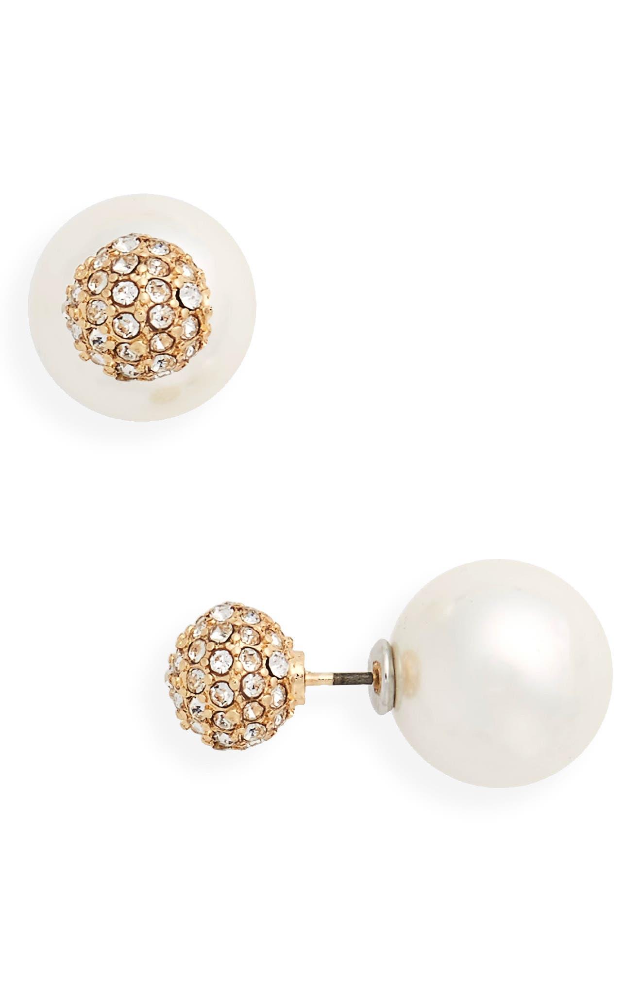 Imitation Pearl & Crystal Front/Back Earrings,                             Main thumbnail 1, color,                             Pearl/ Crystal/ Gold
