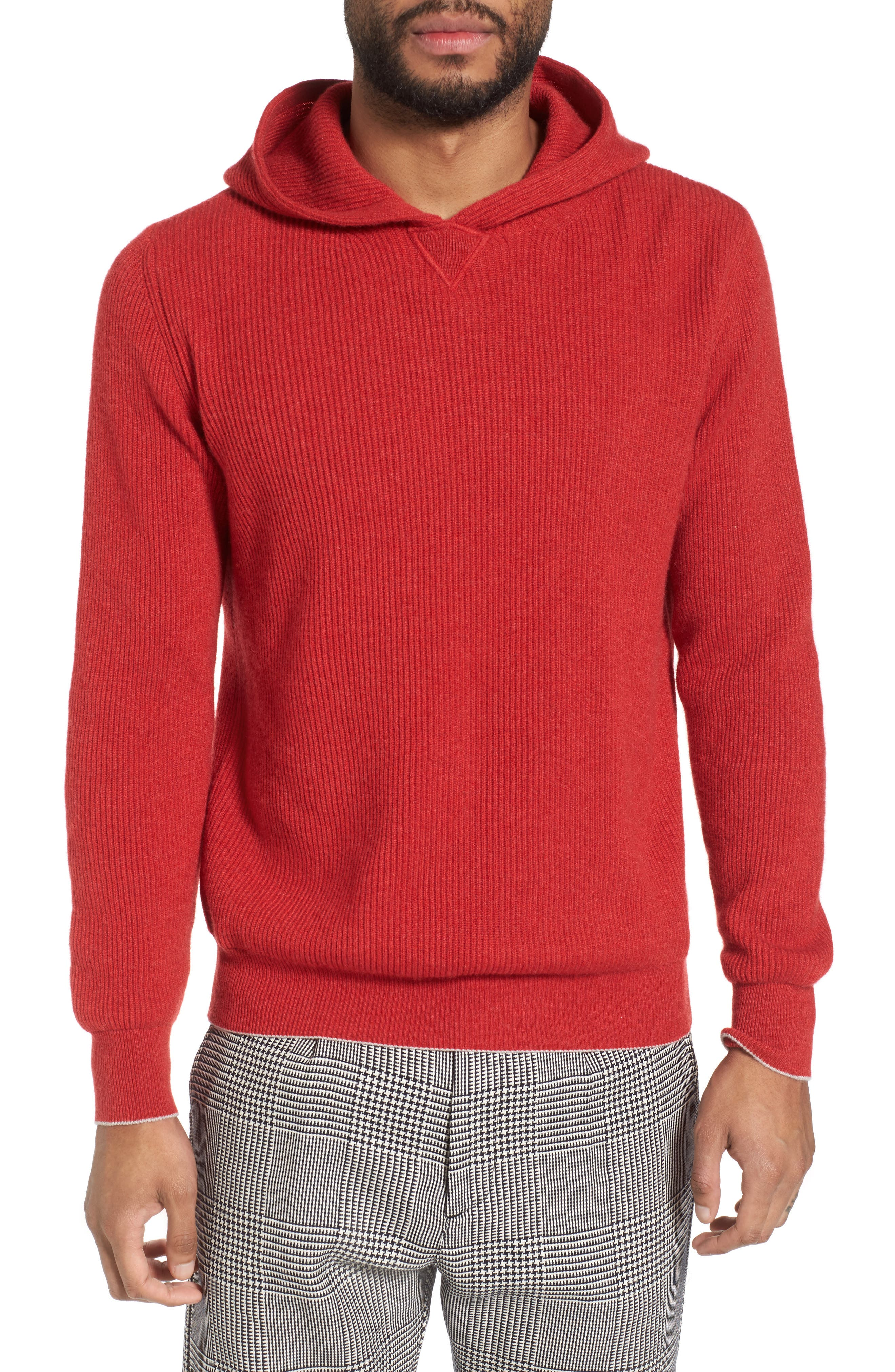 Cashmere Hoodie,                         Main,                         color, Red