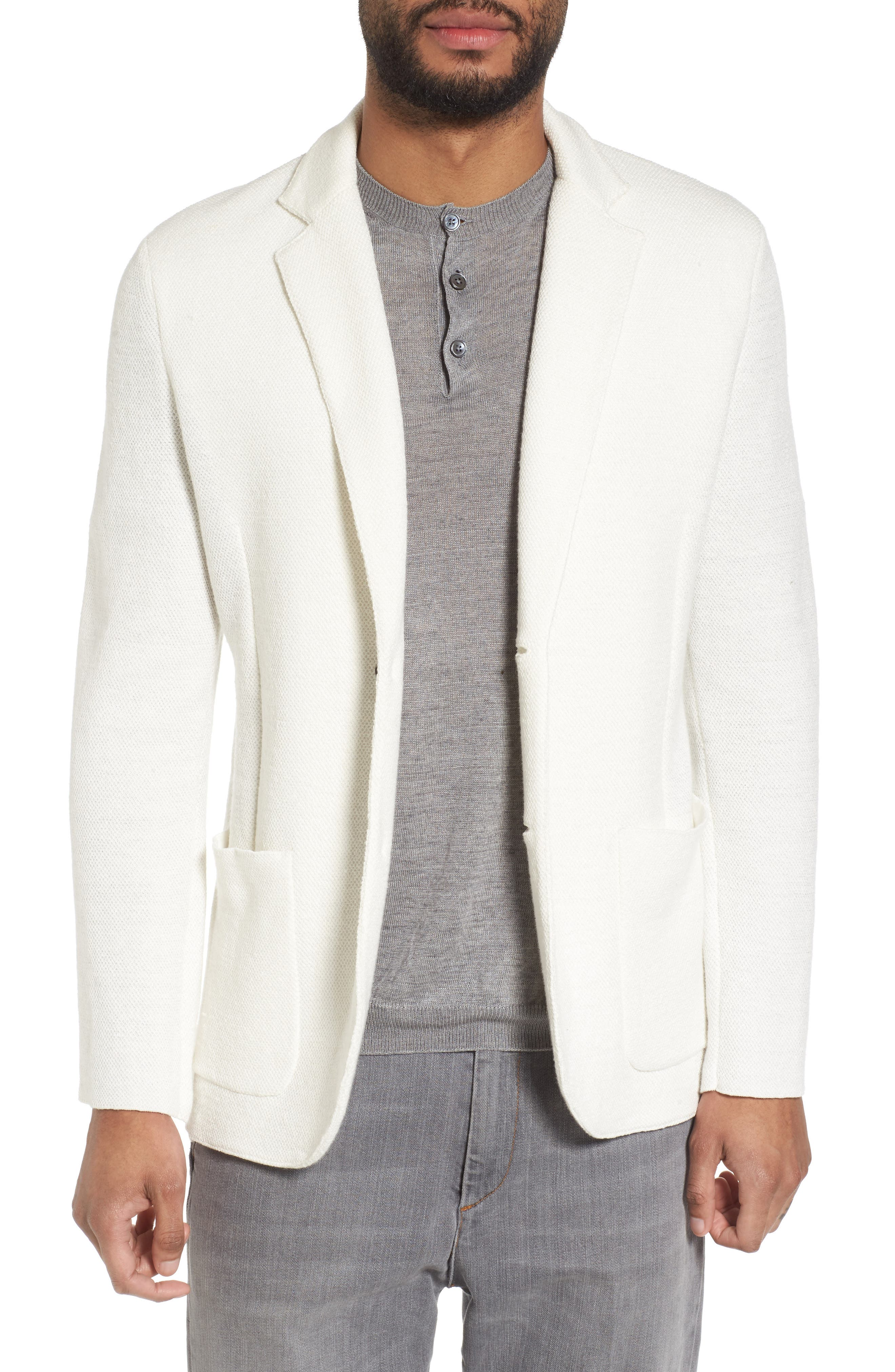 Slim Fit Linen Blend Sweater Jacket,                             Main thumbnail 1, color,                             Ivory