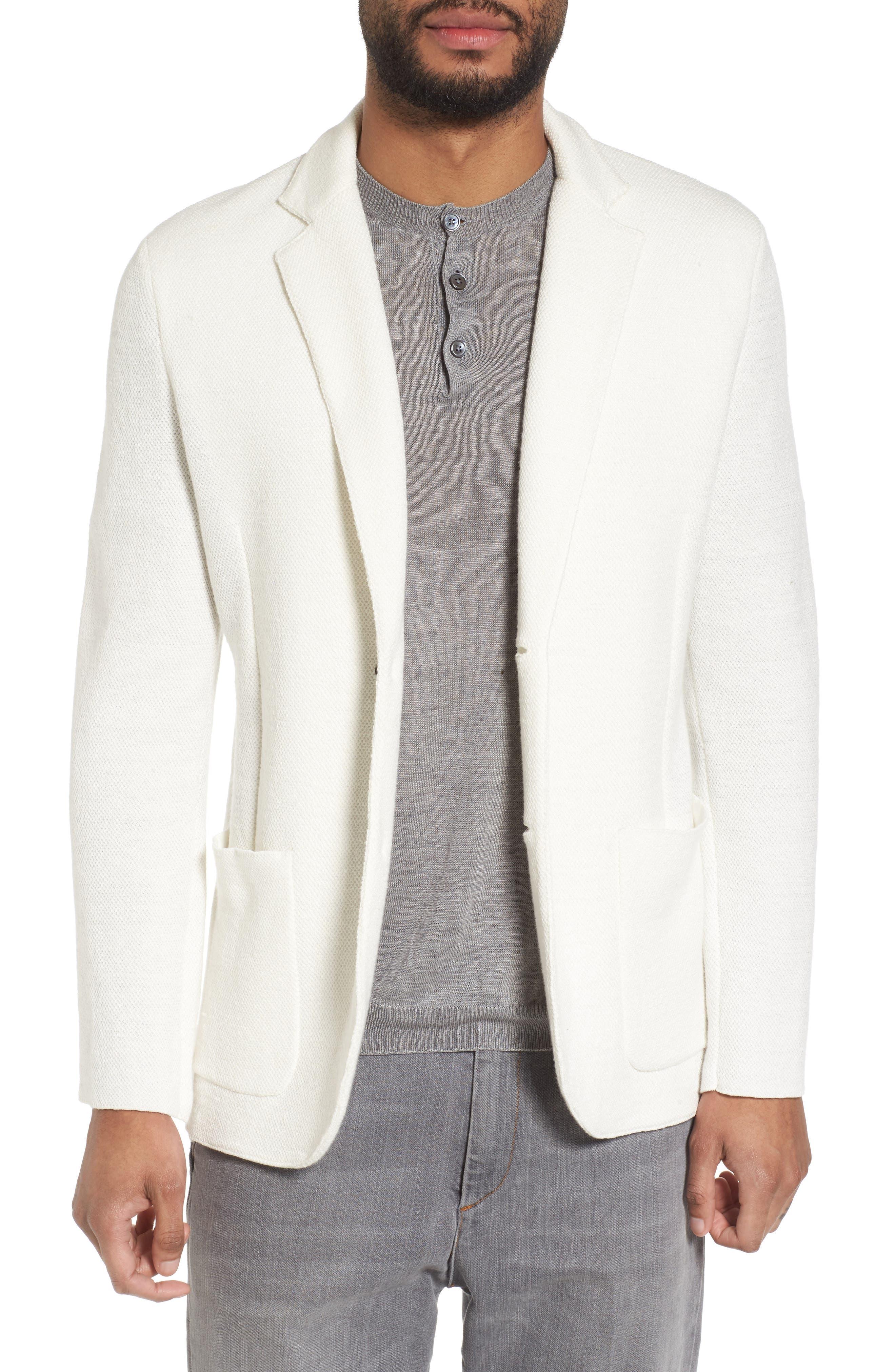 Eleventy Slim Fit Linen Blend Sweater Jacket
