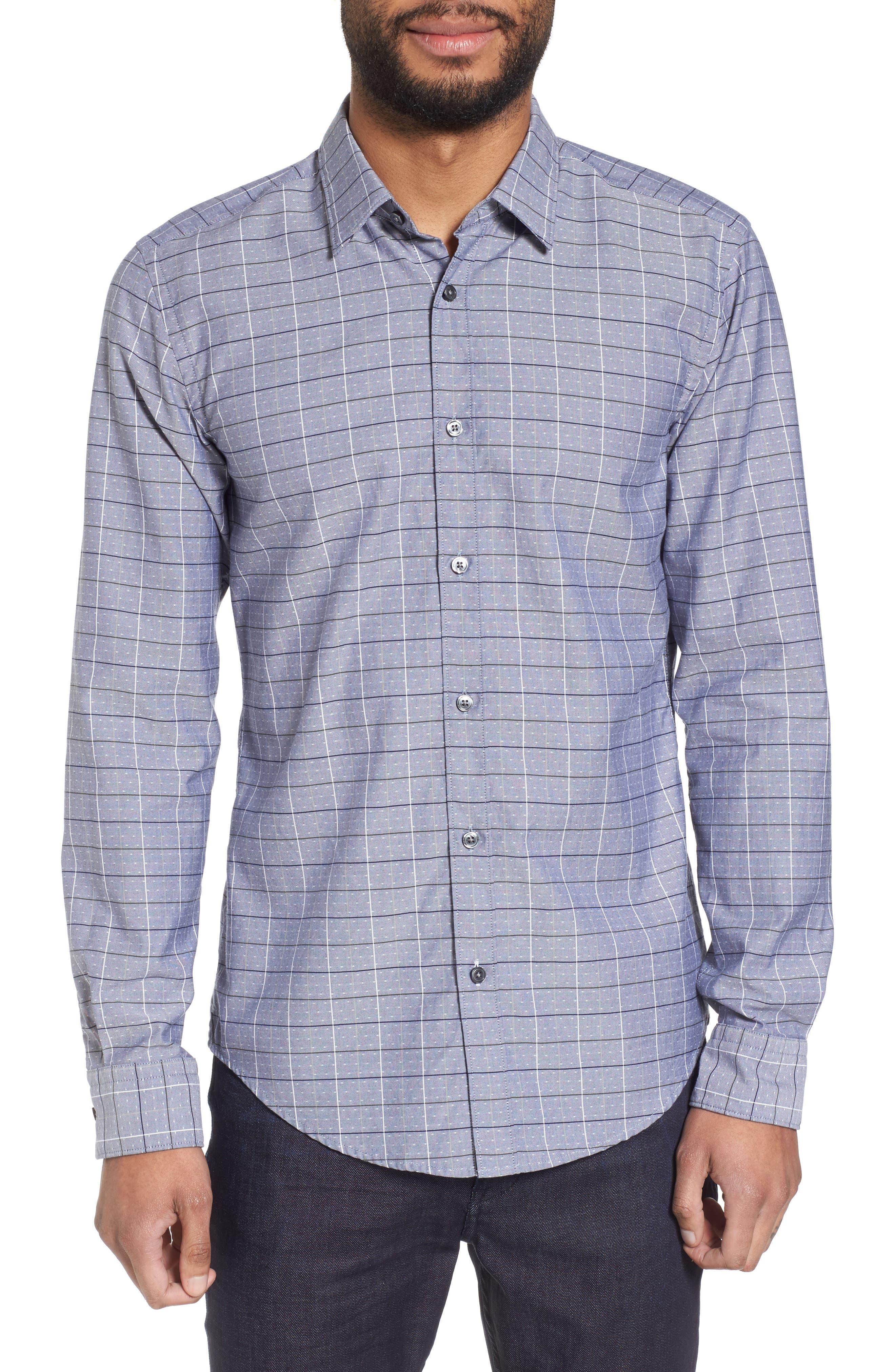 Ronni Slim Fit Check Sport Shirt,                             Main thumbnail 1, color,                             Blue